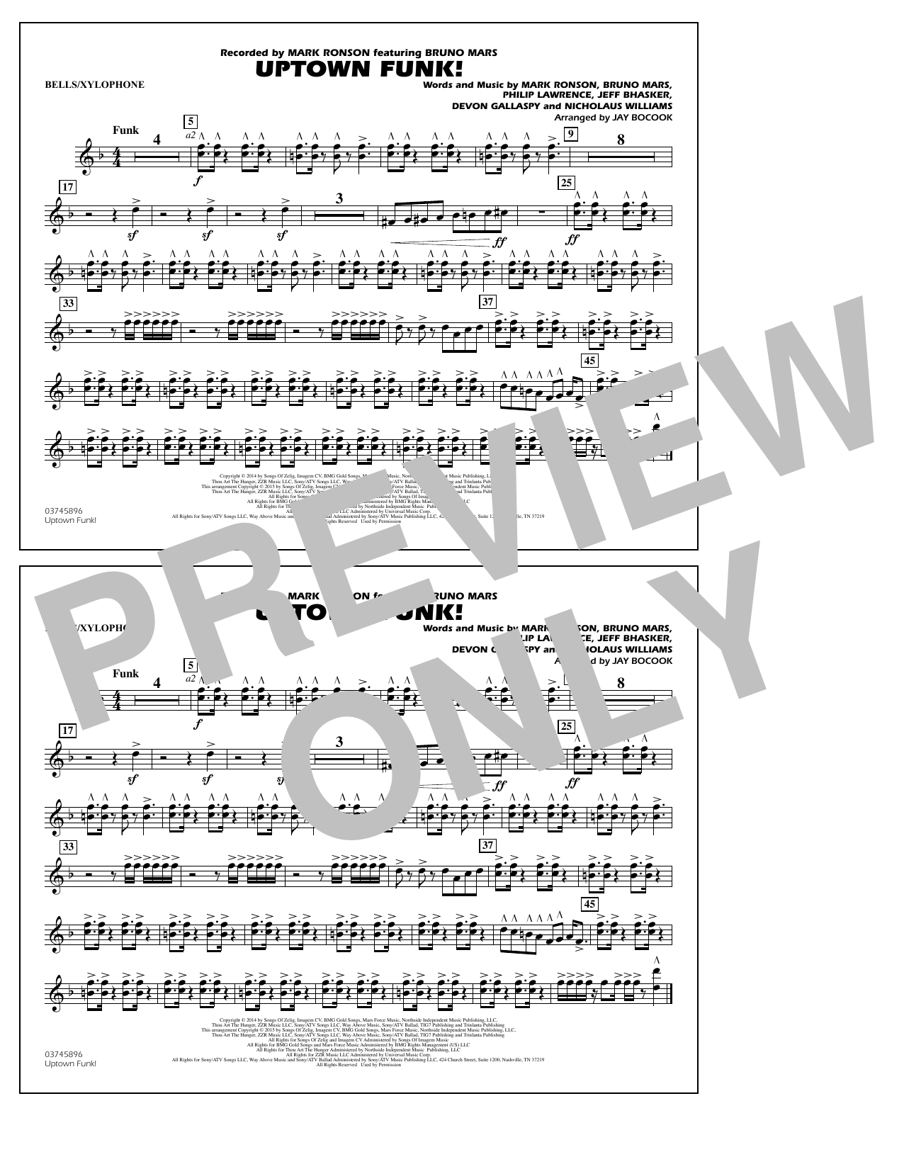 Uptown Funk Alto Sax Solo Sheet Music