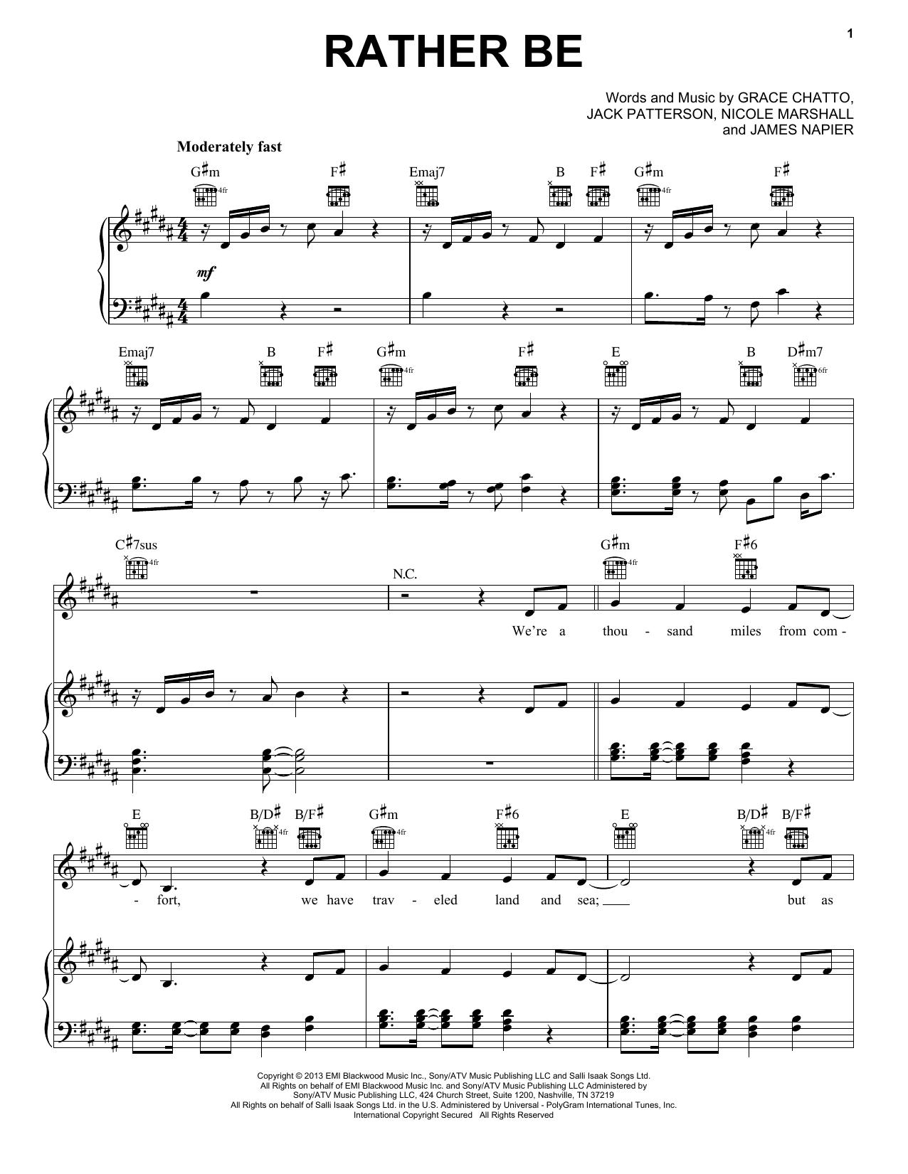 Pentatonix Rather Be Sheet Music