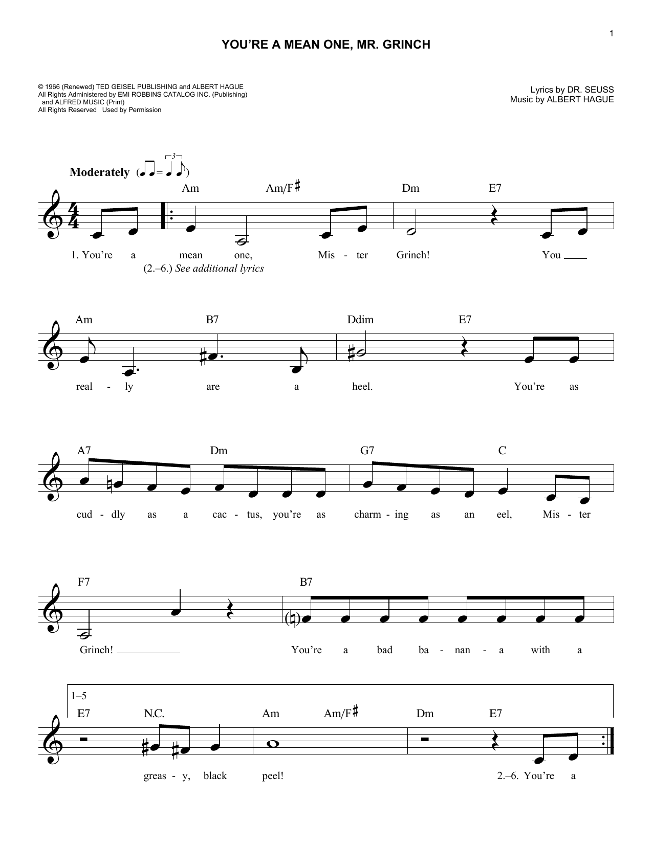 You Re A Mean One Mr Grinch Sheet Music