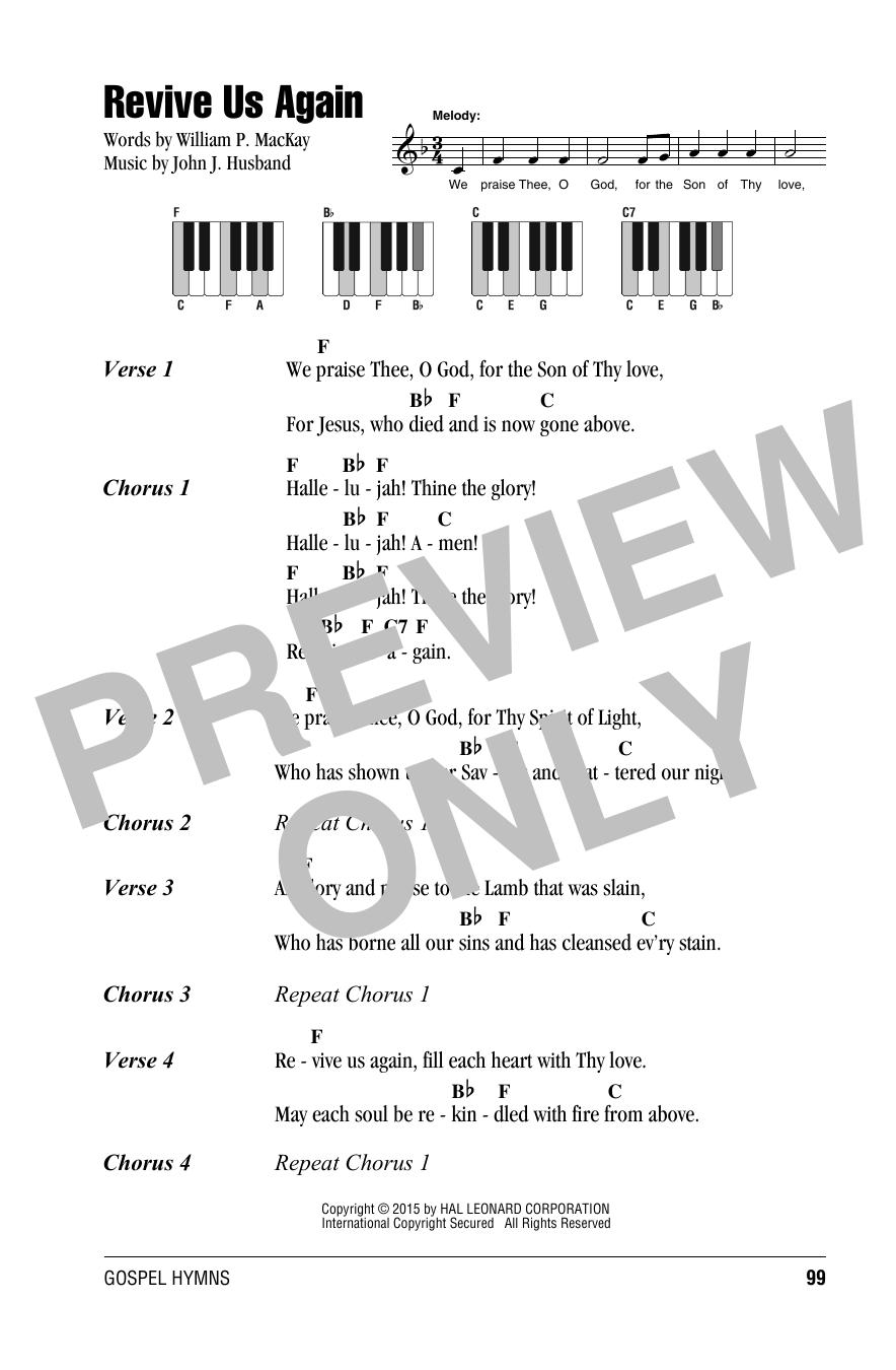 Revive Us Again sheet music by John J. Husband (Lyrics