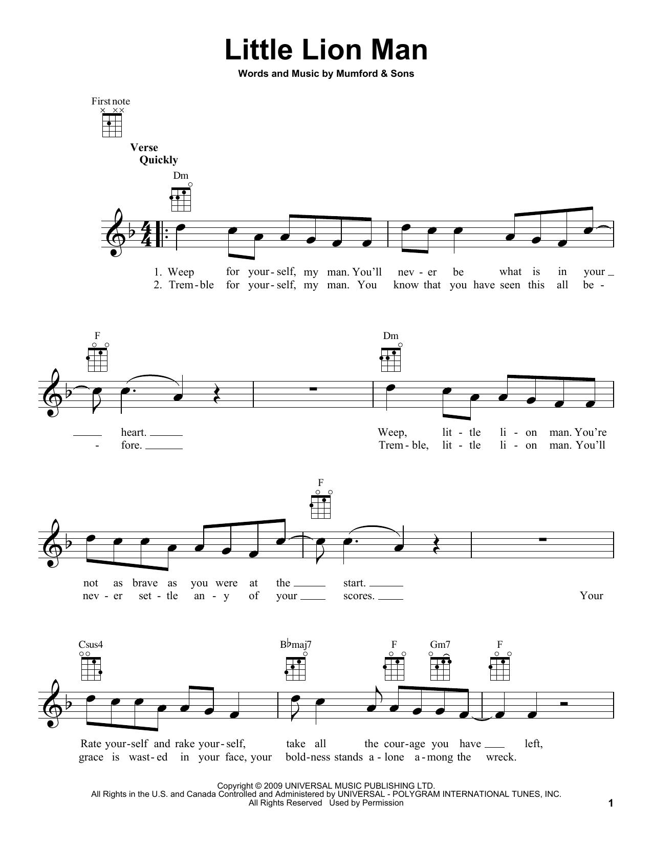 Little Lion Man - Mumford and Sons - Ukulele Chords