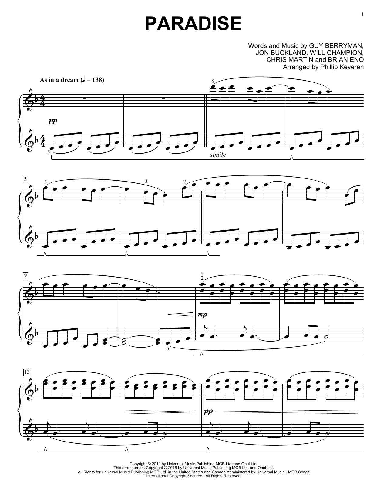 christmas light coldplay lyrics wiring diagram ge refrigerator paradise sheet music by piano  161667
