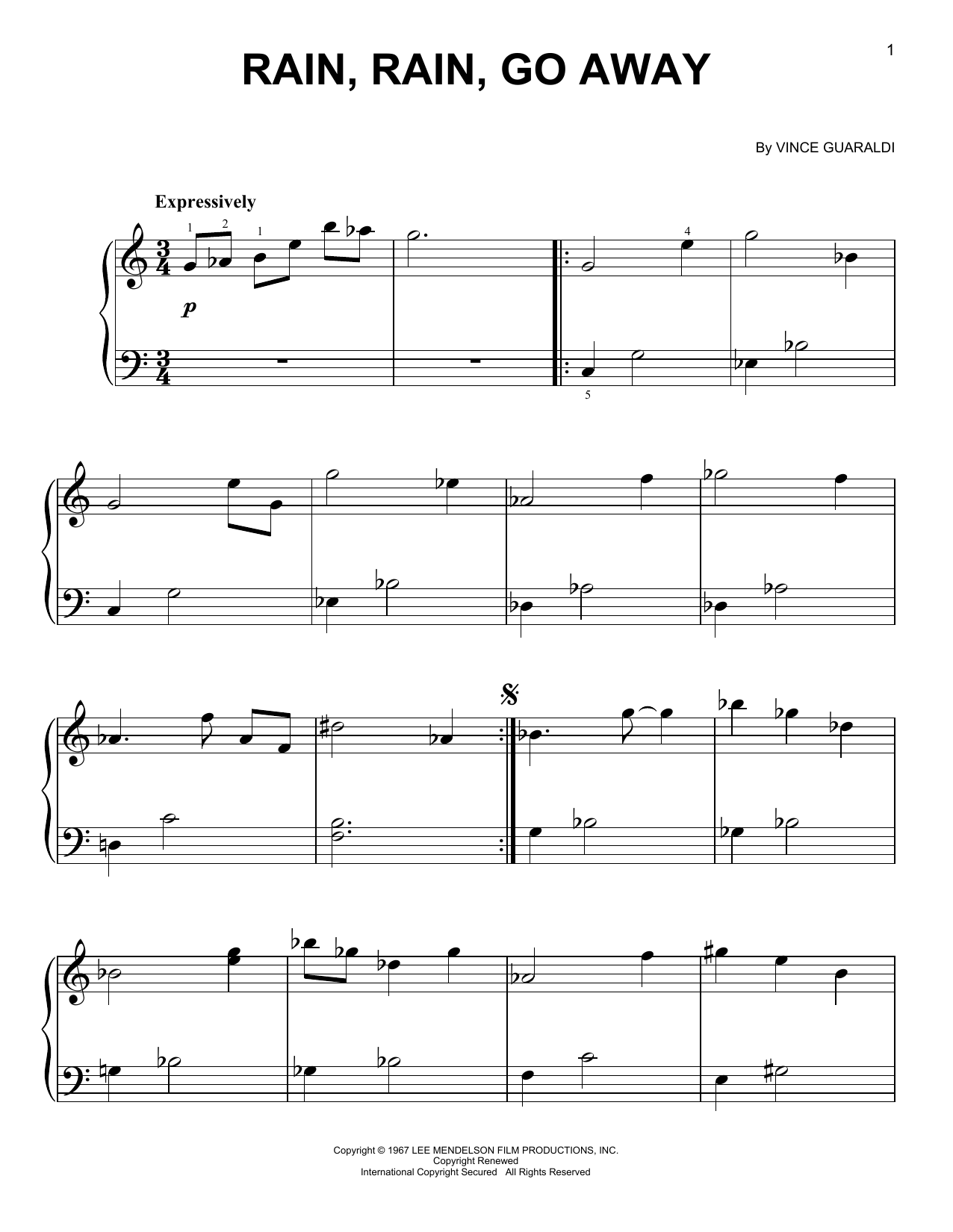 Rain Rain Go Away Sheet Music By Vince Guaraldi Easy
