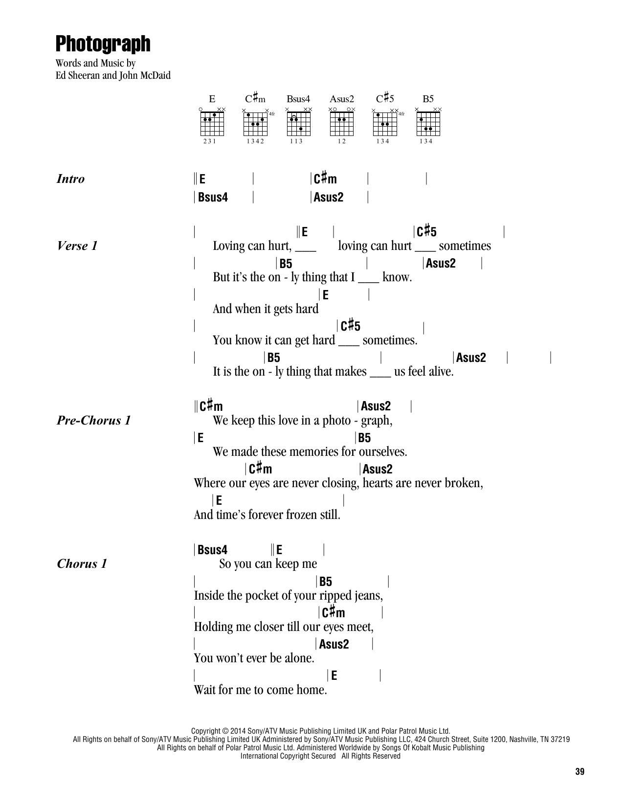Photograph sheet music by Ed Sheeran Lyrics  Chords