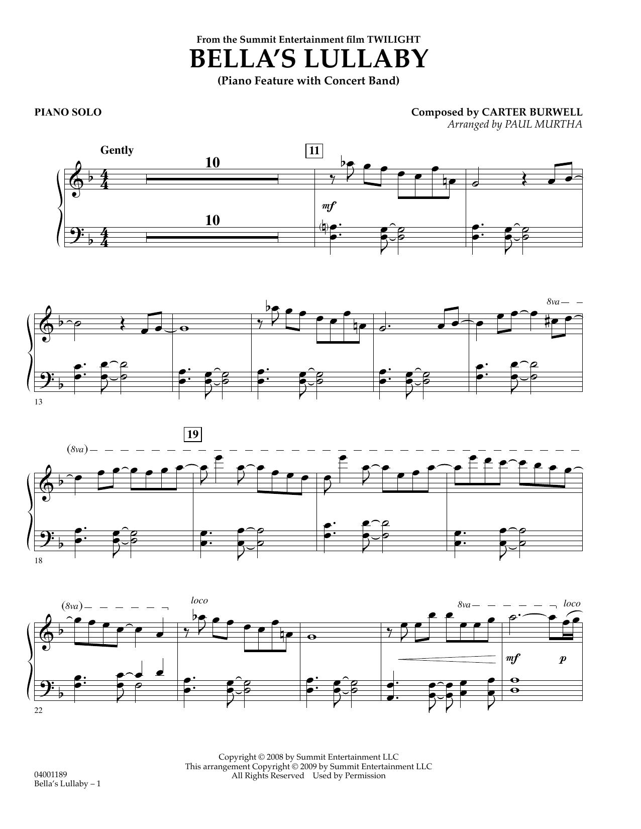 Bella's Lullaby Piano Music Sheet