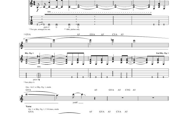 Aerosmith Nine Lives Sheet Music