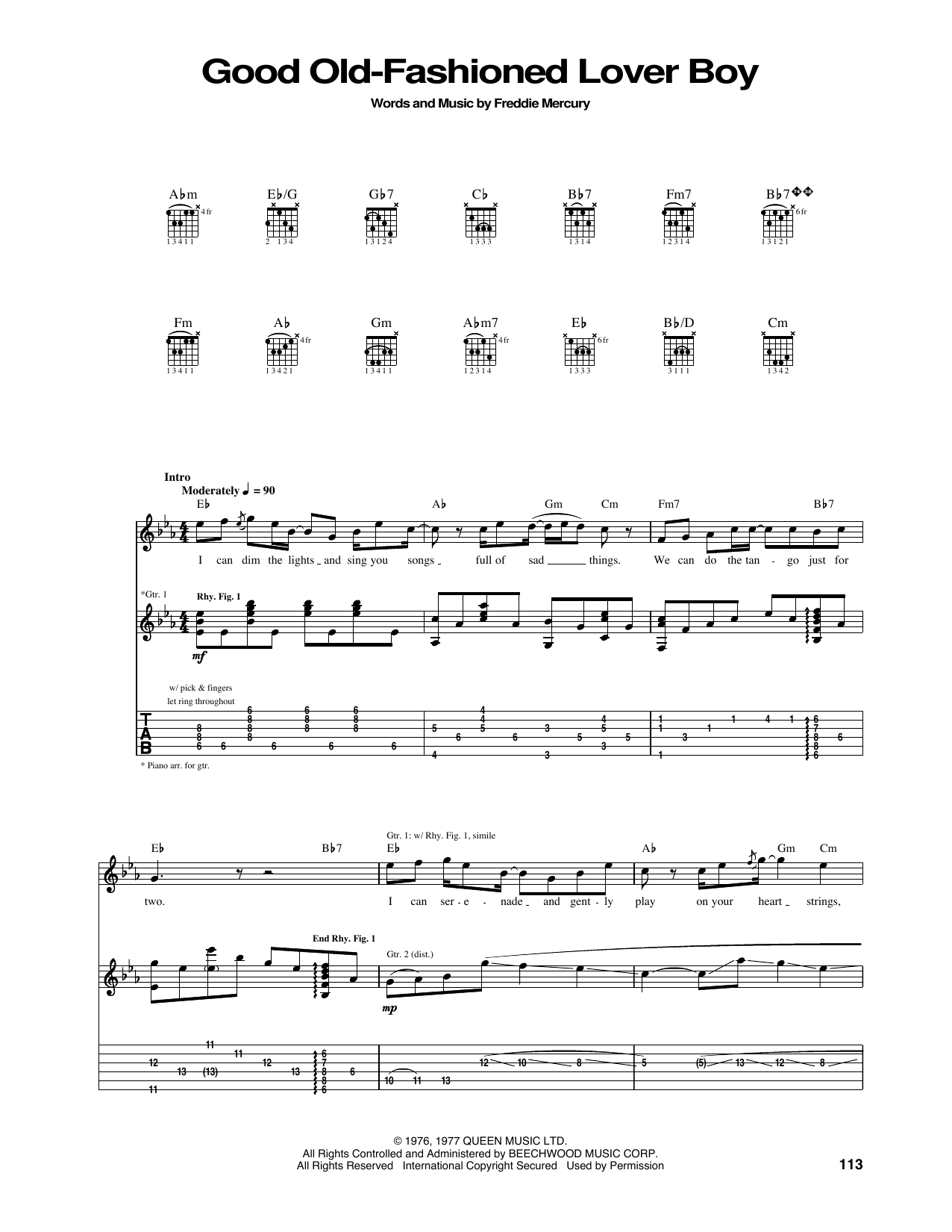 Good Old-Fashioned Lover Boy by Queen - Guitar Tab - Guitar Instructor