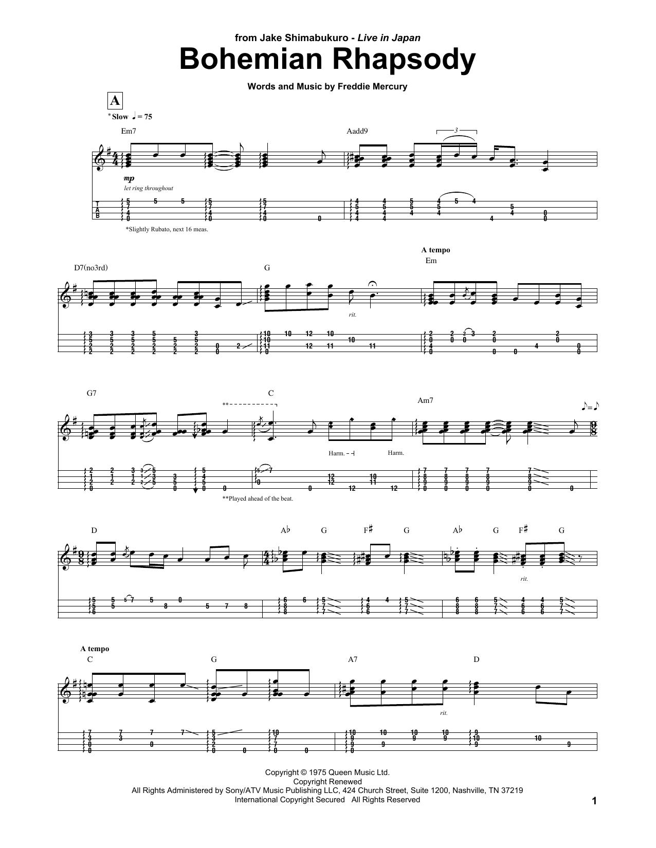 Bohemian Rhapsody Arr Jake Shimabukuro Ukulele Tab