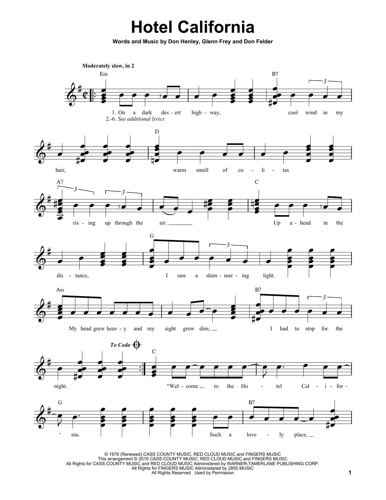 Hotel California sheet music by Eagles (Easy Guitar – 170343)