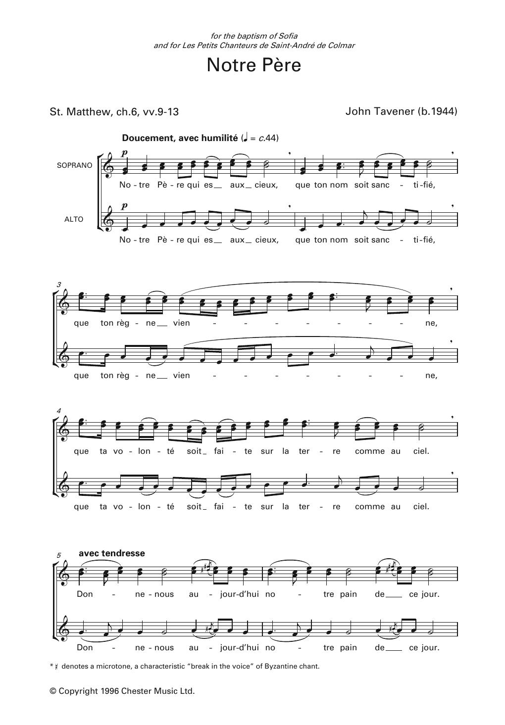 Notre Père Chanté Nouvelle Version : notre, père, chanté, nouvelle, version, Notre, Partitions, Tavener, Choeur
