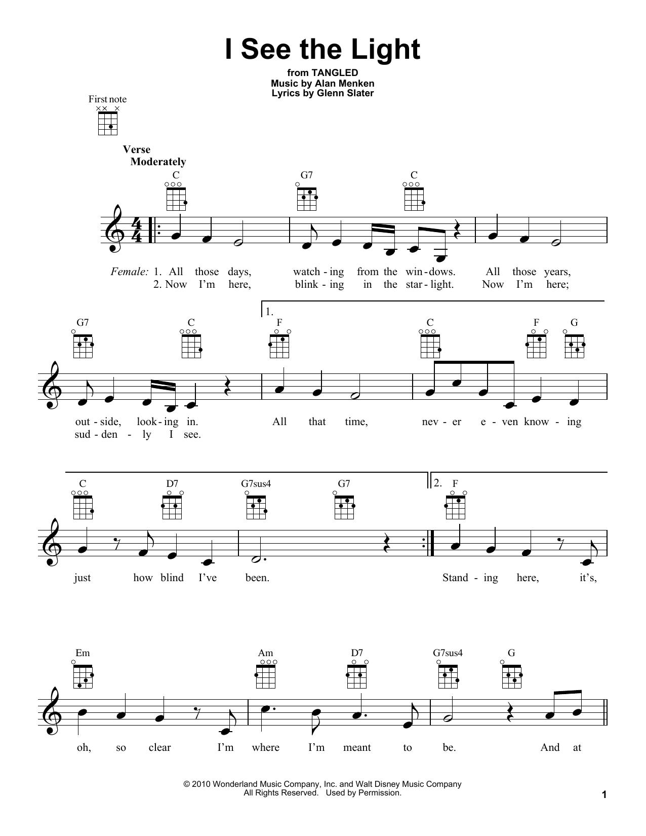 I See The Light Ukulele Chords : light, ukulele, chords, Light, (from, Disney's, Tangled), (Ukulele), Print, Sheet, Music