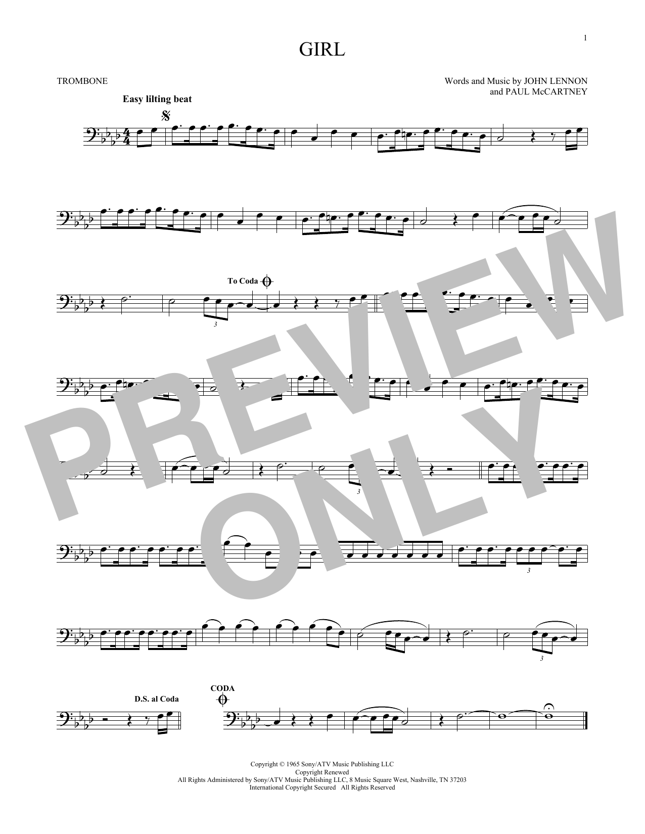 Stardust Trombone Sheet Music