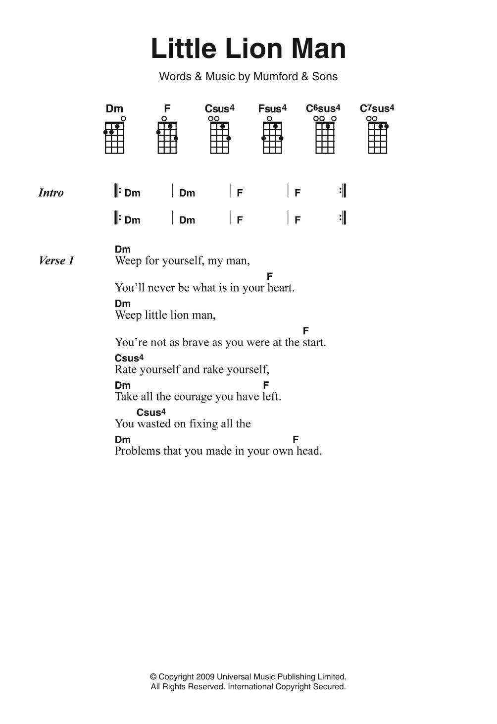 Little Lion Man Ukulele Chords : little, ukulele, chords, Little, Sheet, Music, Mumford, Piano,, Vocal, Guitar