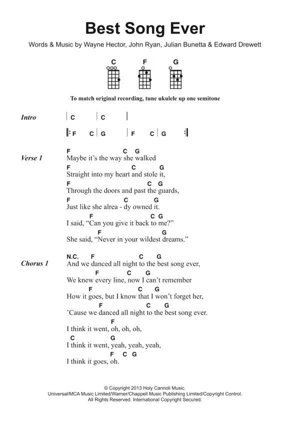 Best Song Ever Sheet Music | One Direction | Ukulele ...