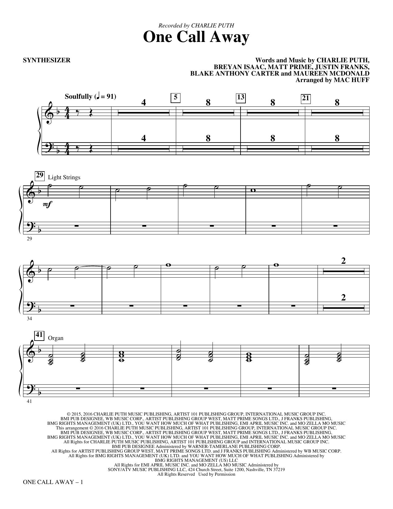 One Call Away - Synthesizer Sheet Music   Mac Huff   Choir Instrumental Pak