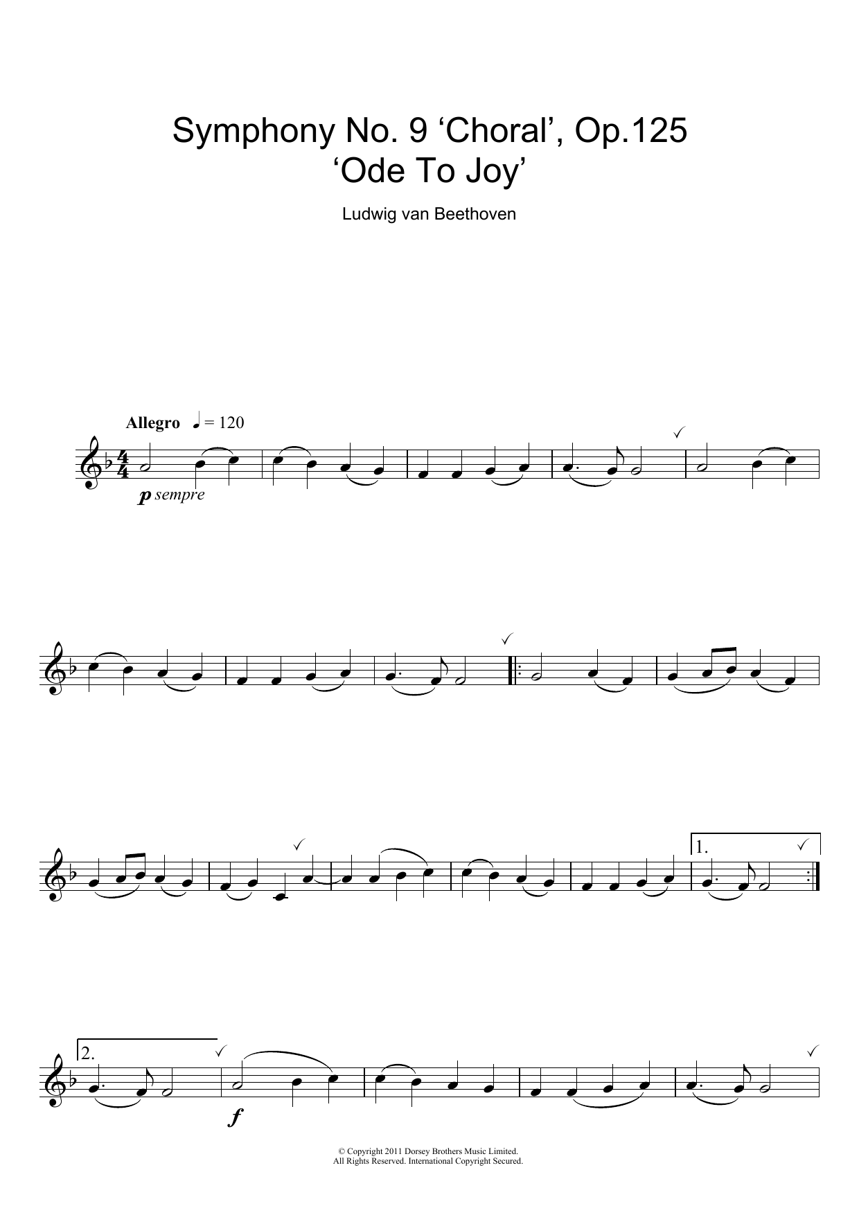 Ode To Joy From Symphony No 9 Fourth Movement Sheet