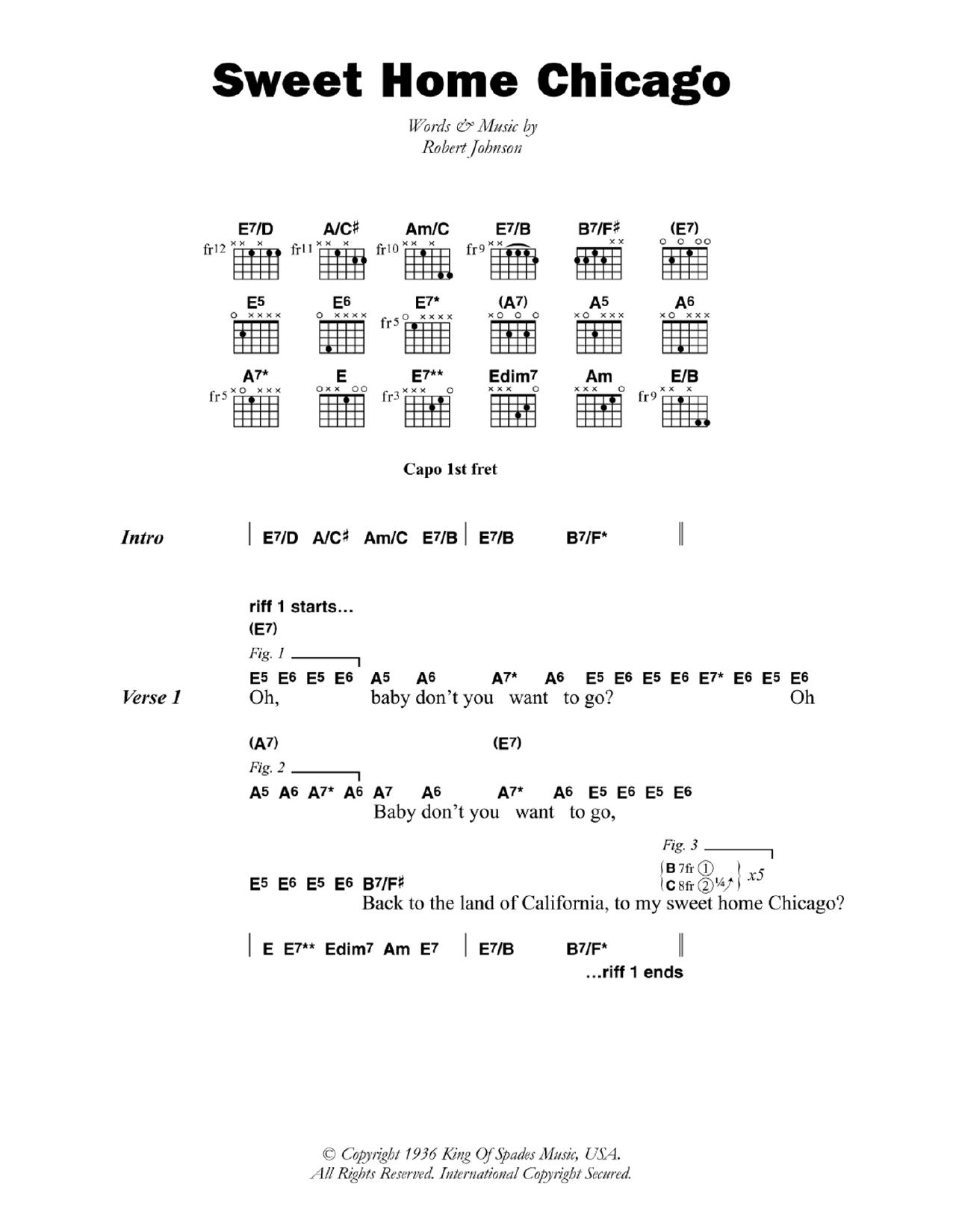 E e e e7 a a e e b a e d c# c b bb b verse 1: Sweet Home Chicago Sheet Music Robert Johnson Guitar Chords Lyrics
