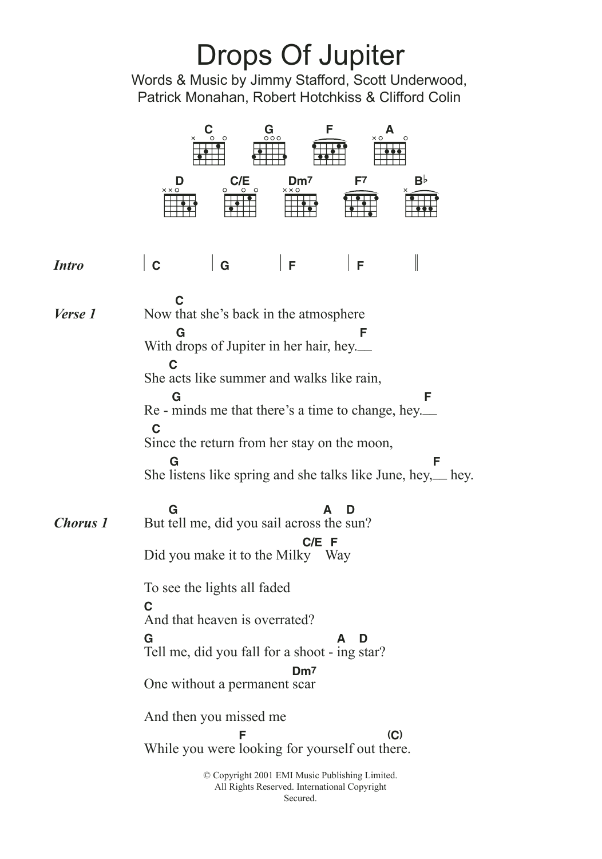 Drops Of Jupiter Uke Chords : drops, jupiter, chords, Drops, Jupiter, (Tell, Train, Guitar, Chords/Lyrics, Instructor