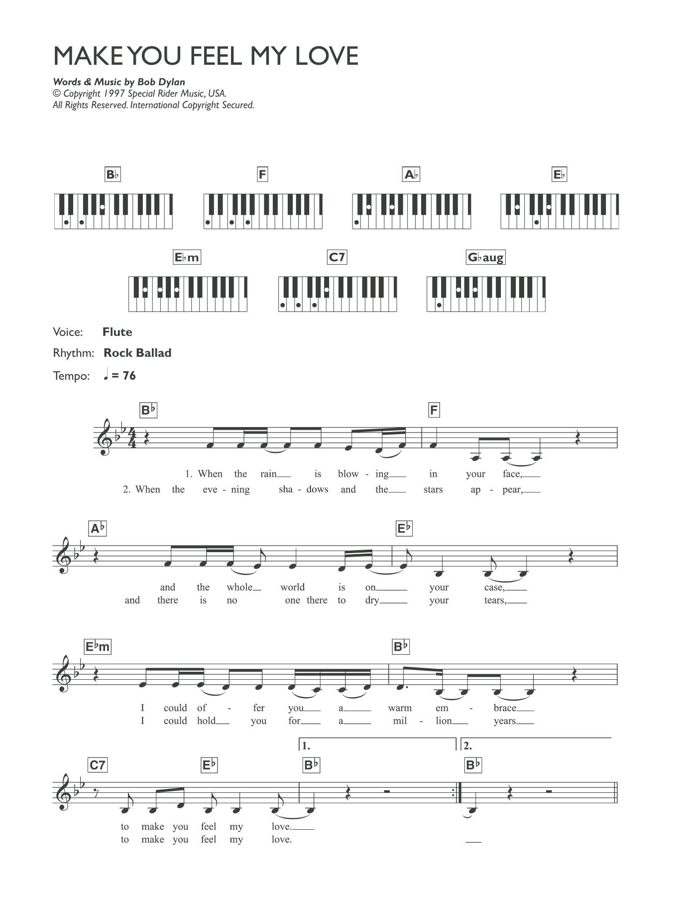 Make You Feel My Love Sheet Music | Adele | Piano Chords/Lyrics
