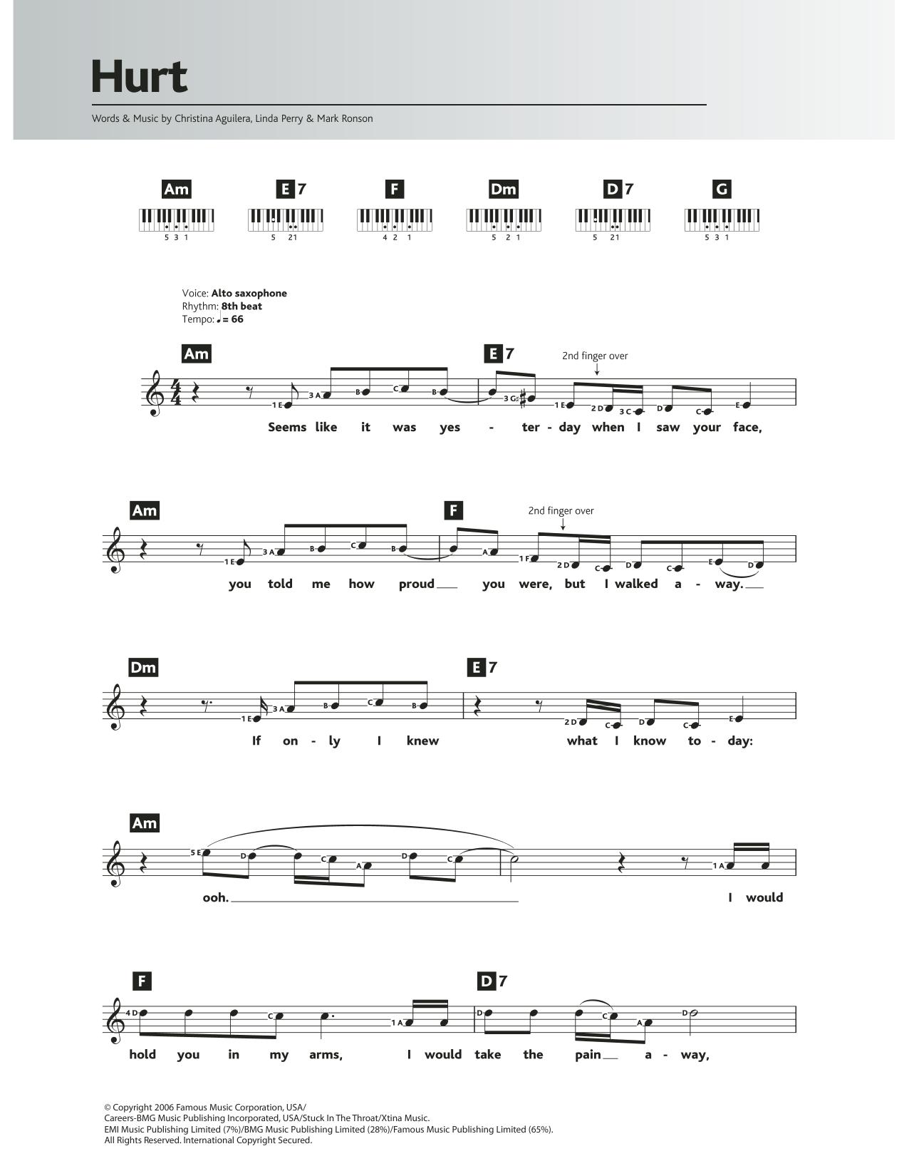 Hurt Piano Chords : piano, chords, Sheet, Music, Christina, Aguilera, Piano, Chords/Lyrics