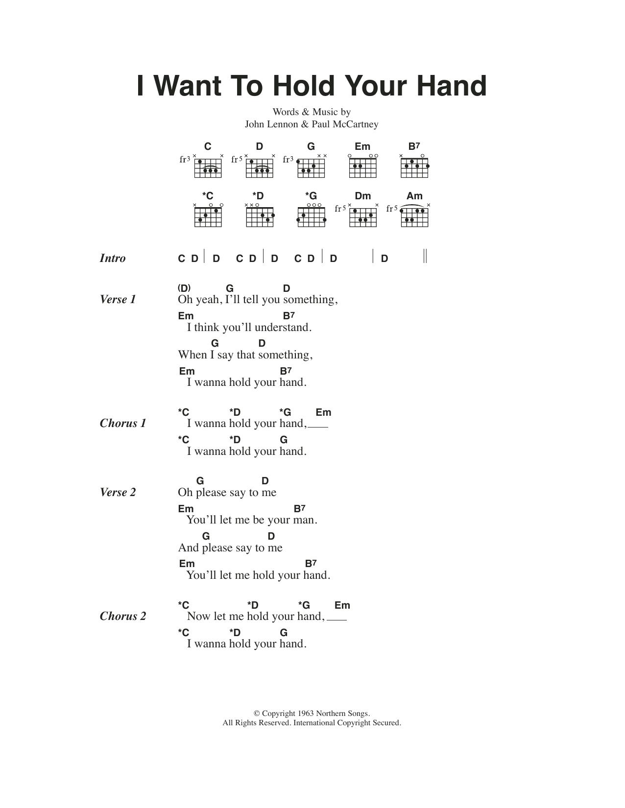 I Wanna Hold Your Hand Chord : wanna, chord, Sheet, Music, Beatles, Guitar, Chords/Lyrics