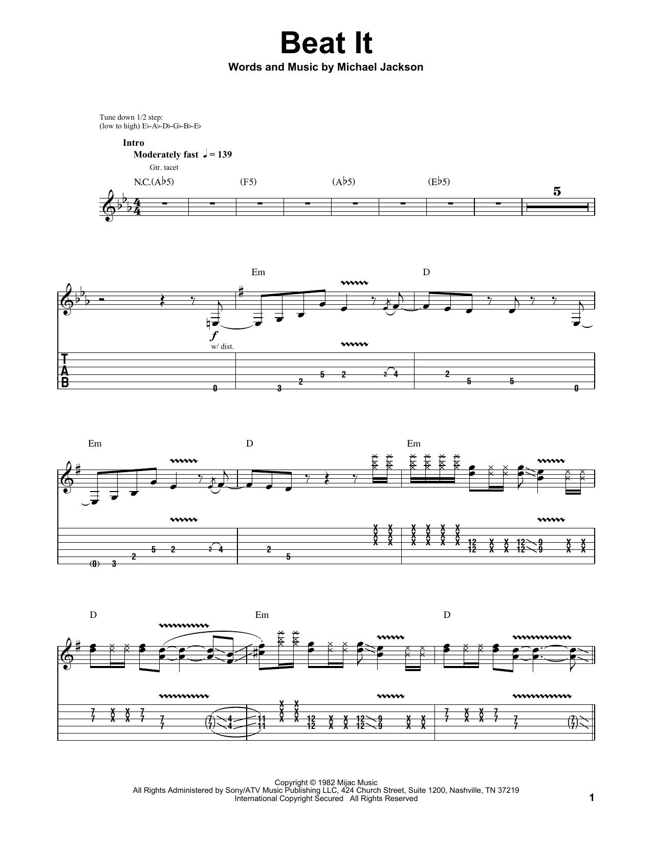 Beat It Bass Tab : Sheet, Music, Michael, Jackson, Guitar, (Single, Guitar)