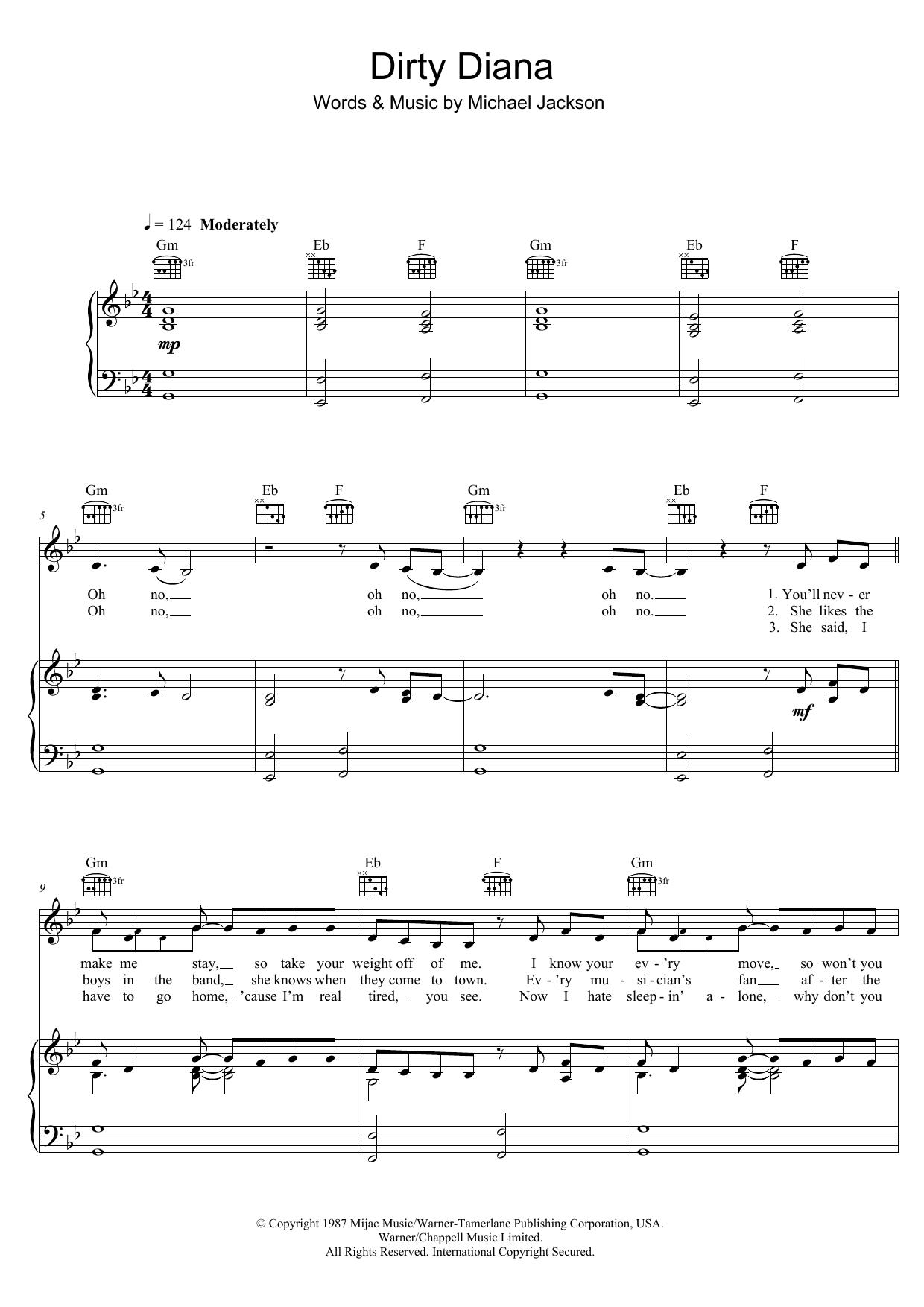 Dirty Diana Partituras | Michael Jackson | Piano, Voz y Guitarra (Melodía mano derecha)