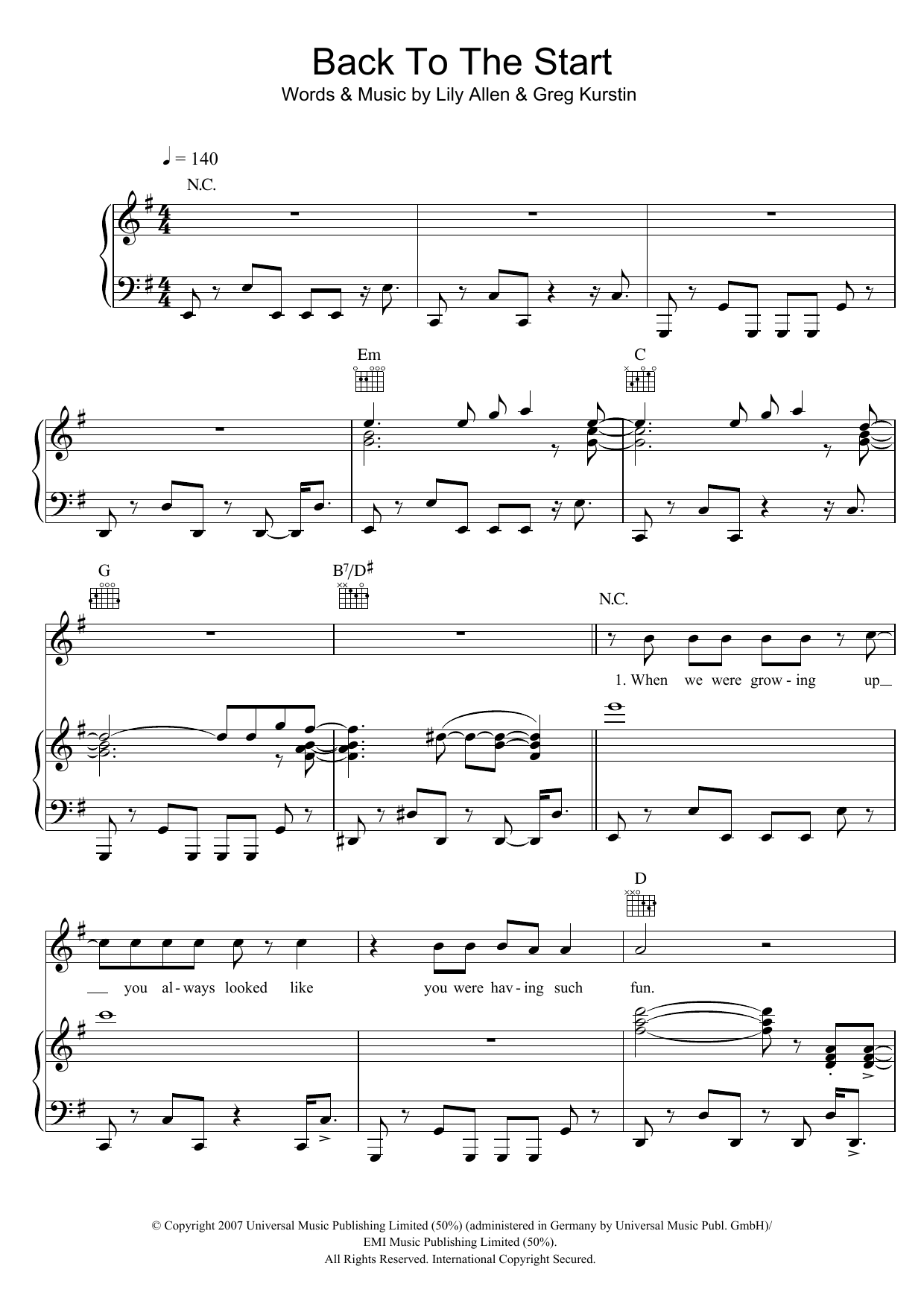 Back To The Start Sheet Music