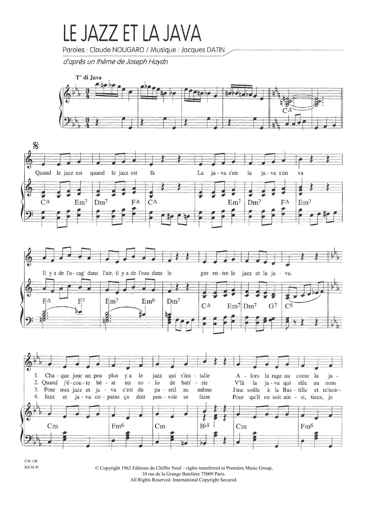 Paroles Le Jazz Et La Java : paroles, Partitions, Claude, Nougaro, Piano, Chant