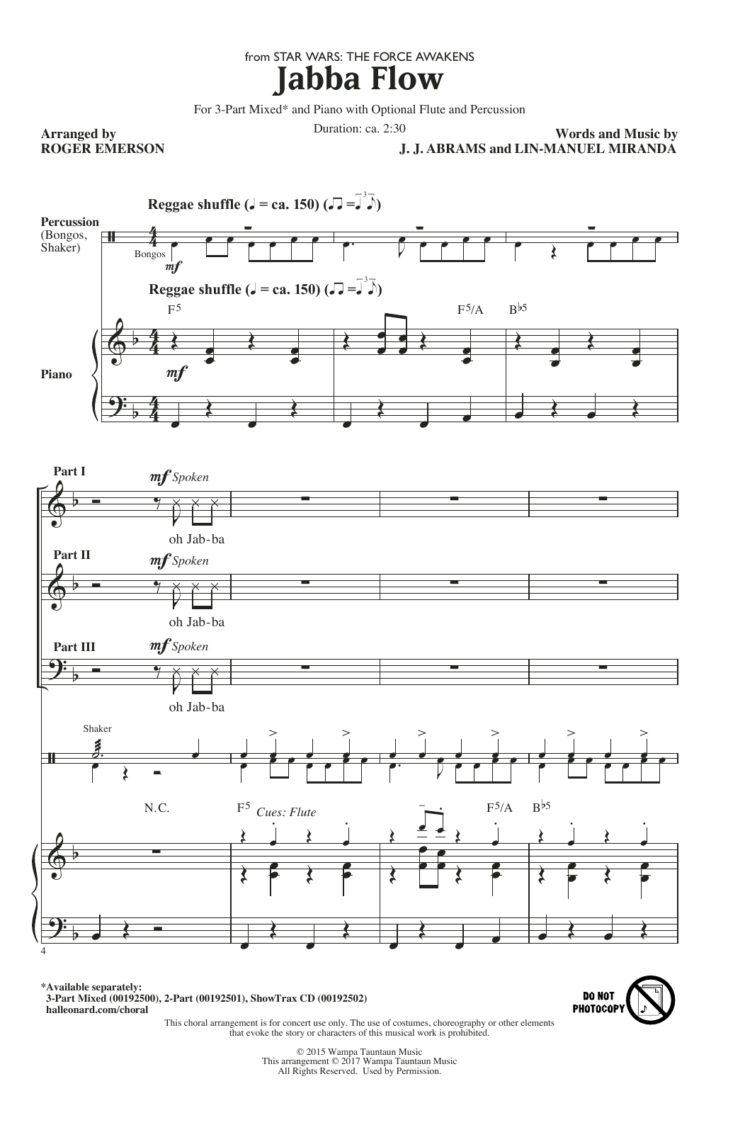 Jabba Flow From Star Wars The Force Awakens Sheet Music
