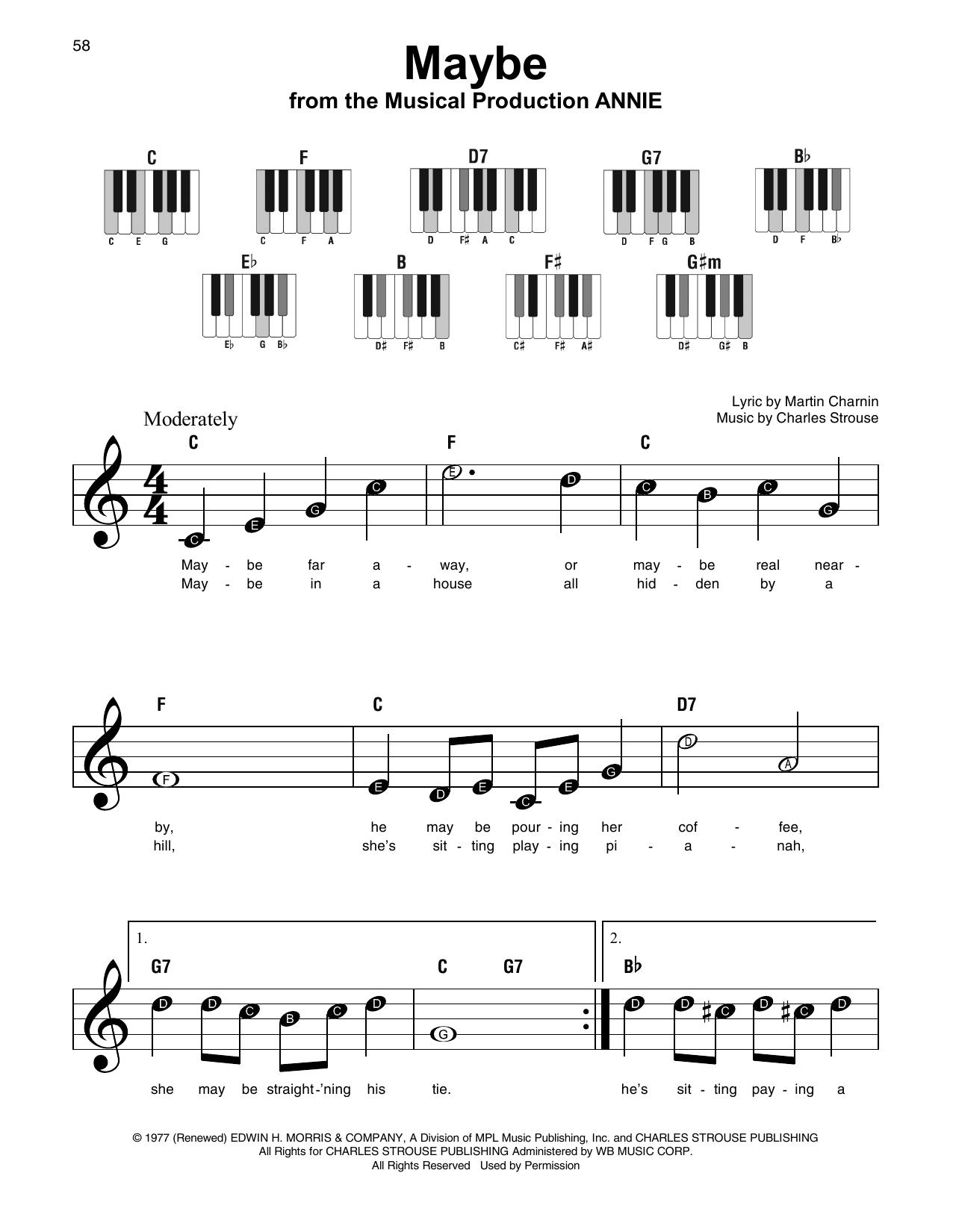Maybe Annie Sheet Music : maybe, annie, sheet, music, Maybe, (Super, Piano), Print, Sheet, Music