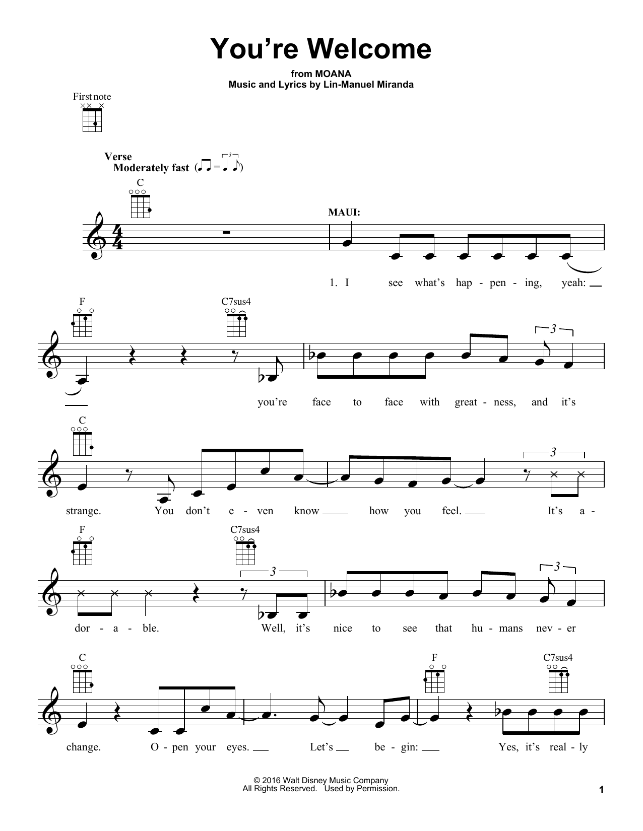 You Re Welcome Ukulele Chords : welcome, ukulele, chords, You're, Welcome, (from, Moana), Sheet, Music, Lin-Manuel, Miranda, Ukulele