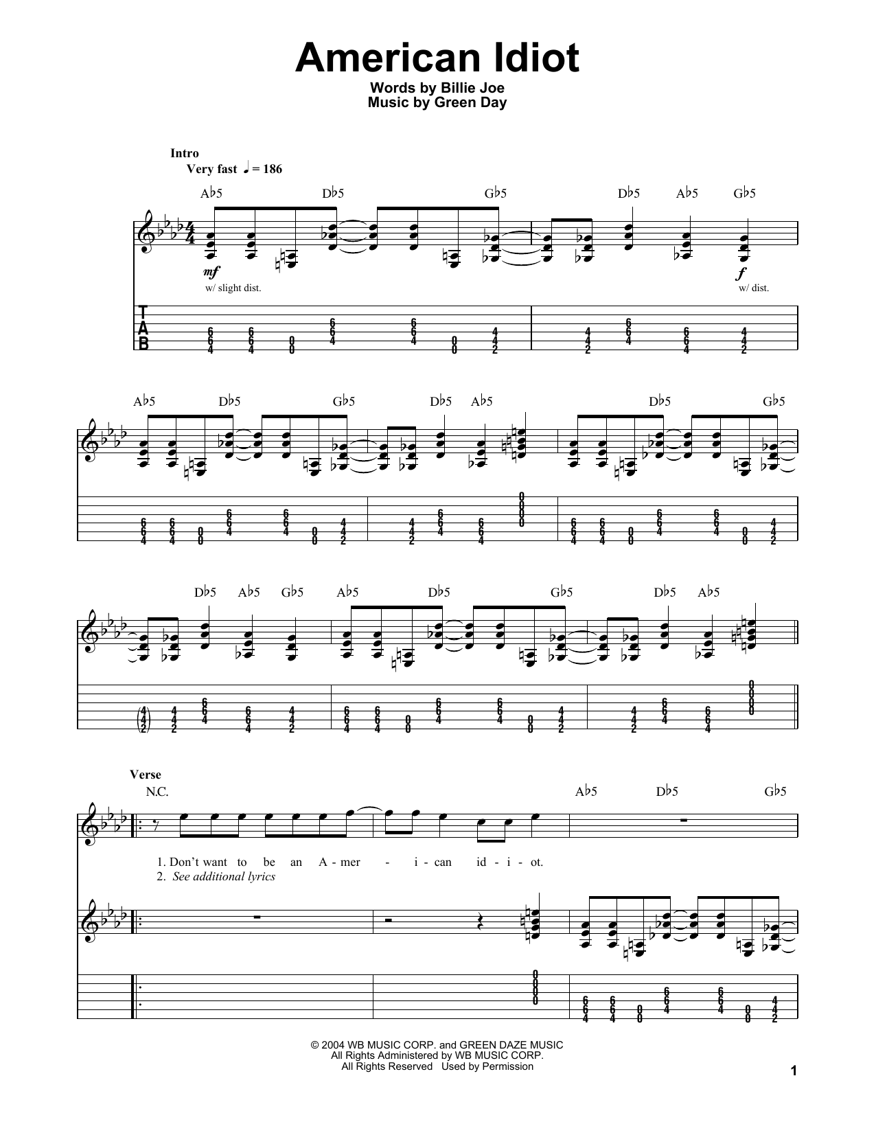 American Idiot Guitar Tab Single Guitar