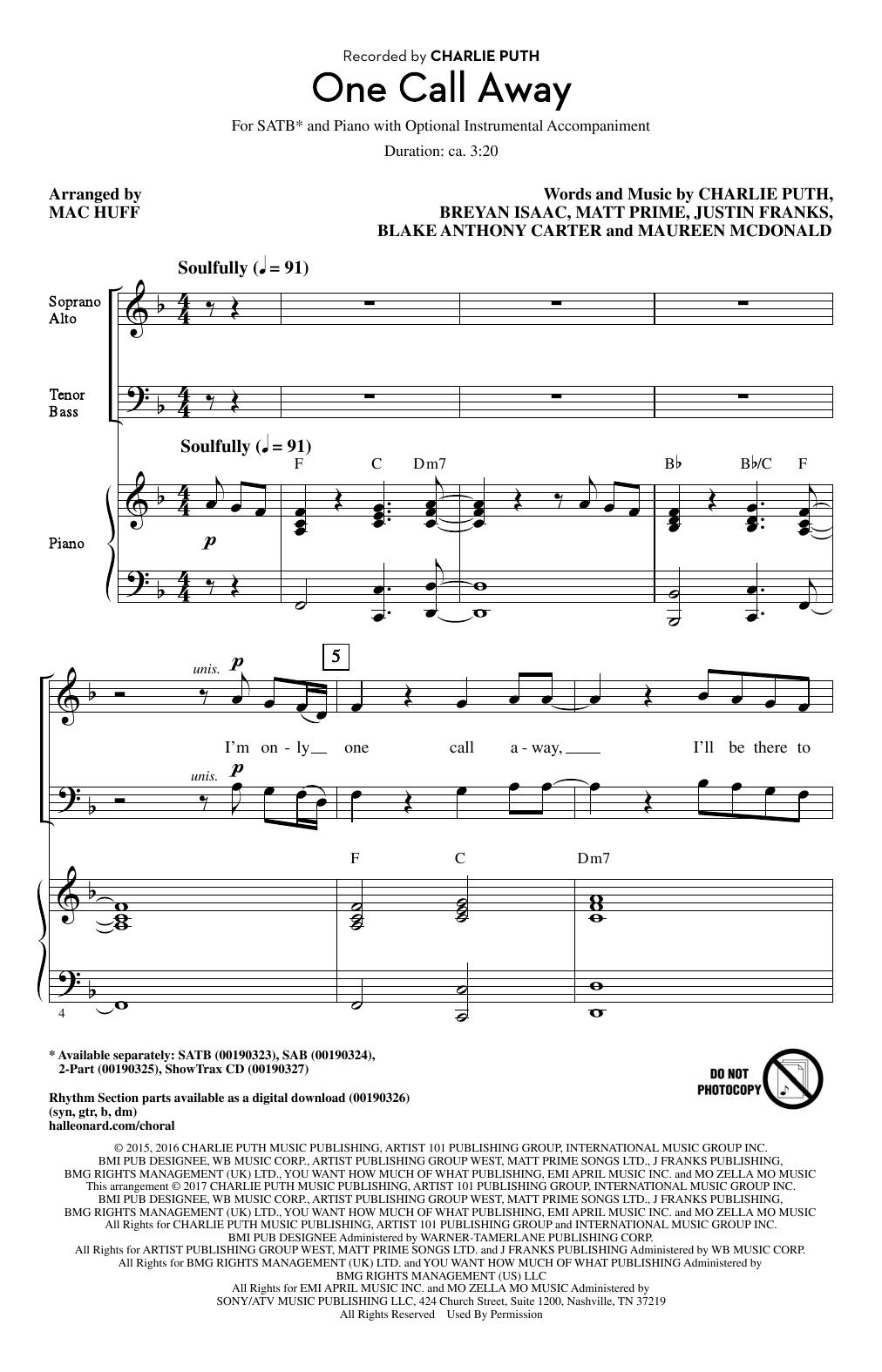 One Call Away Sheet Music   Mac Huff   SATB Choir
