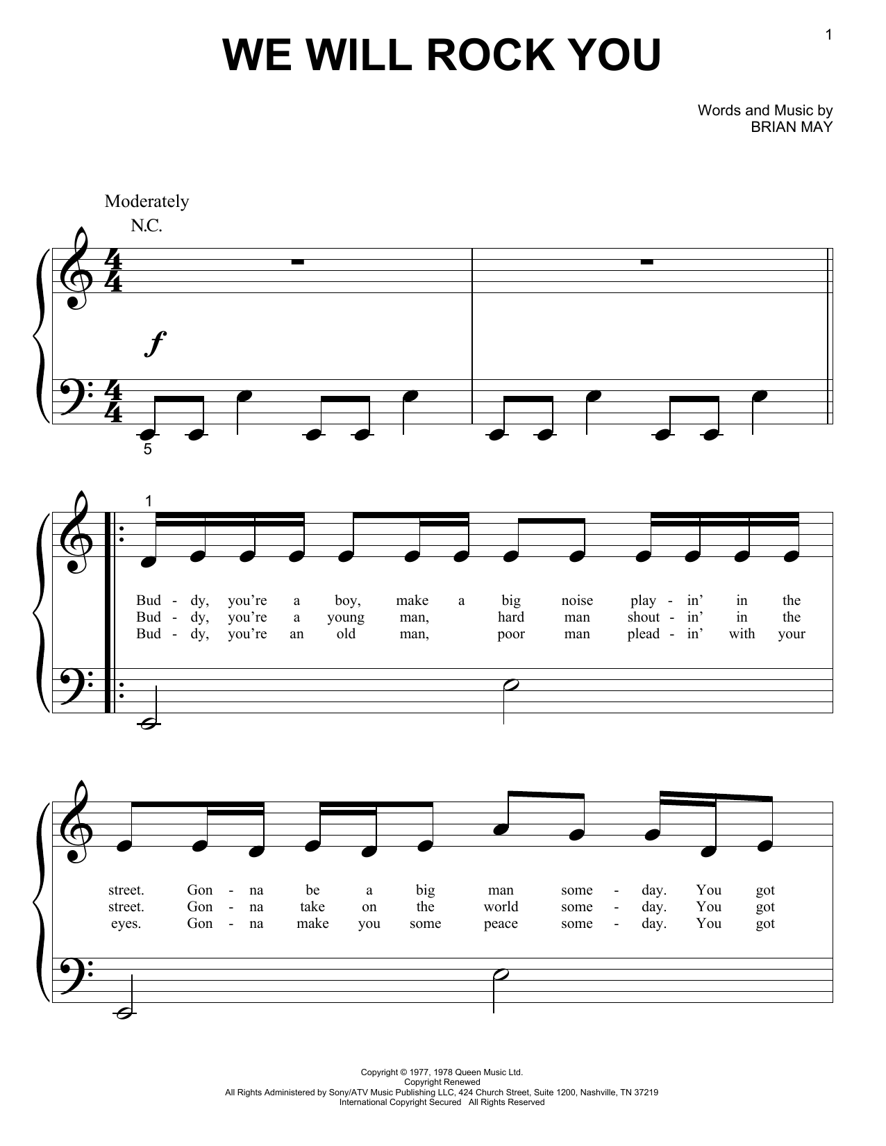 Queen For Big Note Piano Sheet Music