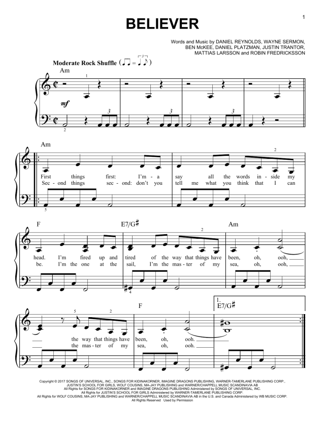 Believer (Easy Piano) - Print Sheet Music Now