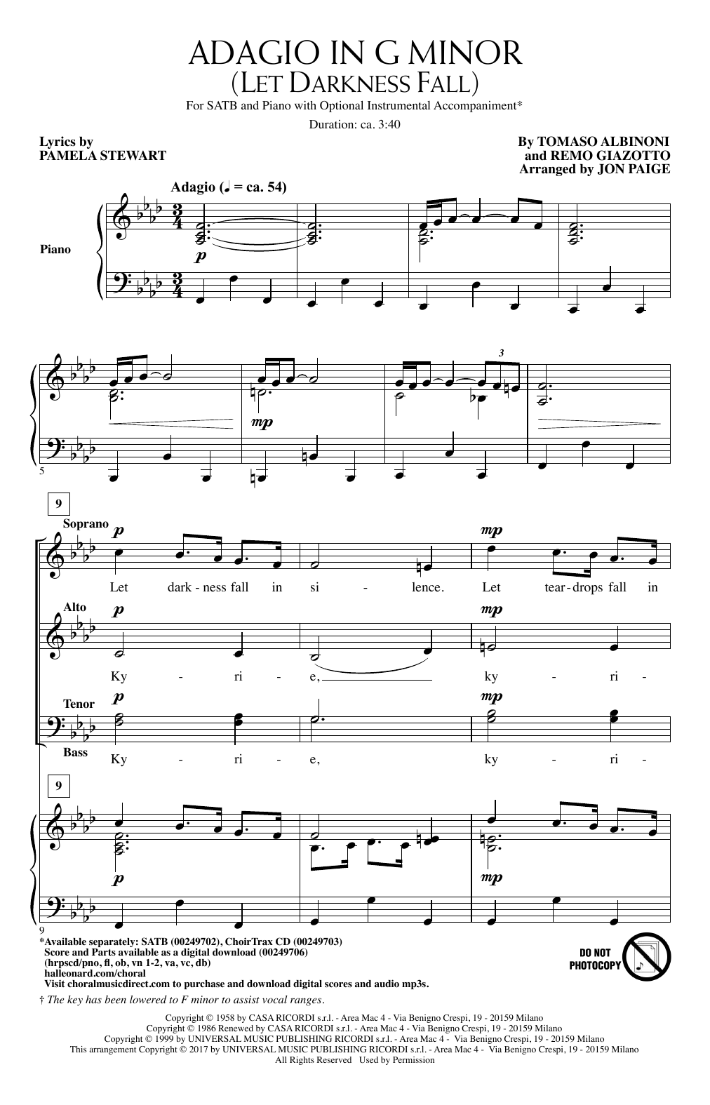 Adagio In Sol Minore (adagio In G Minor) Choral Satb Sheet