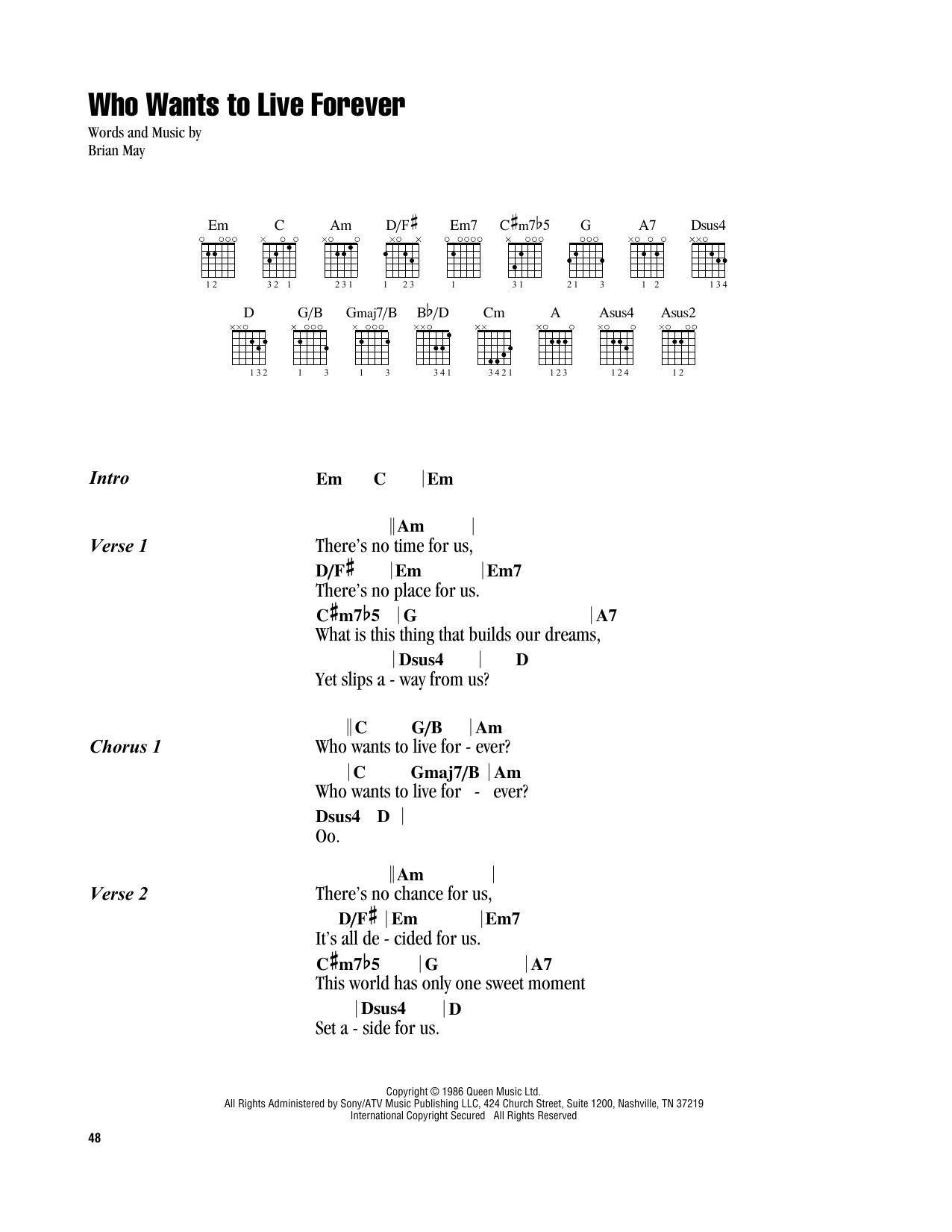 Live Forever Chord : forever, chord, Queen, Wants, Forever, AtStanton's, Sheet, Music