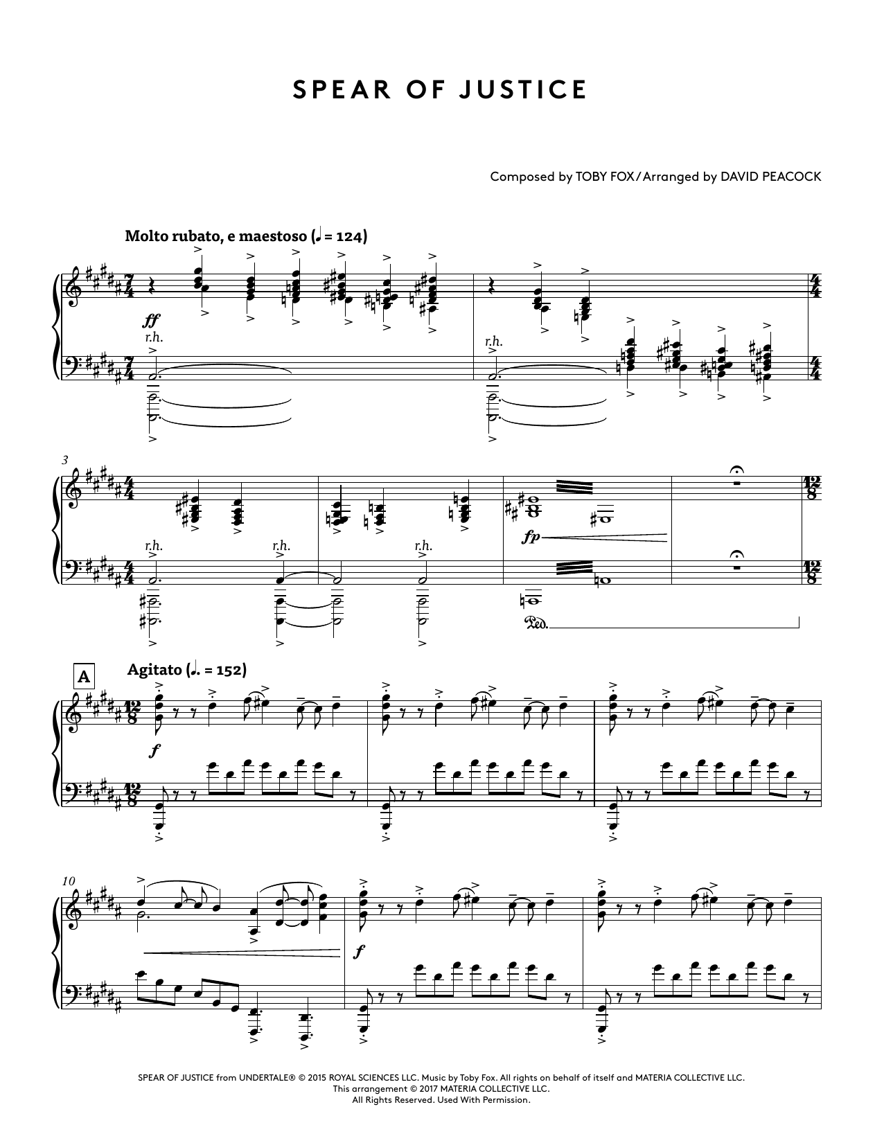 Spear Of Justice Sheet Music : spear, justice, sheet, music, Spear, Justice, (from, Undertale, Piano, Collections), (arr., David, Peacock), Sheet, Music