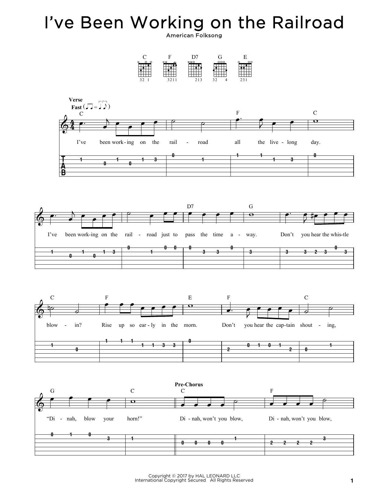 I Ve Been Working On The Railroad Sheet Music