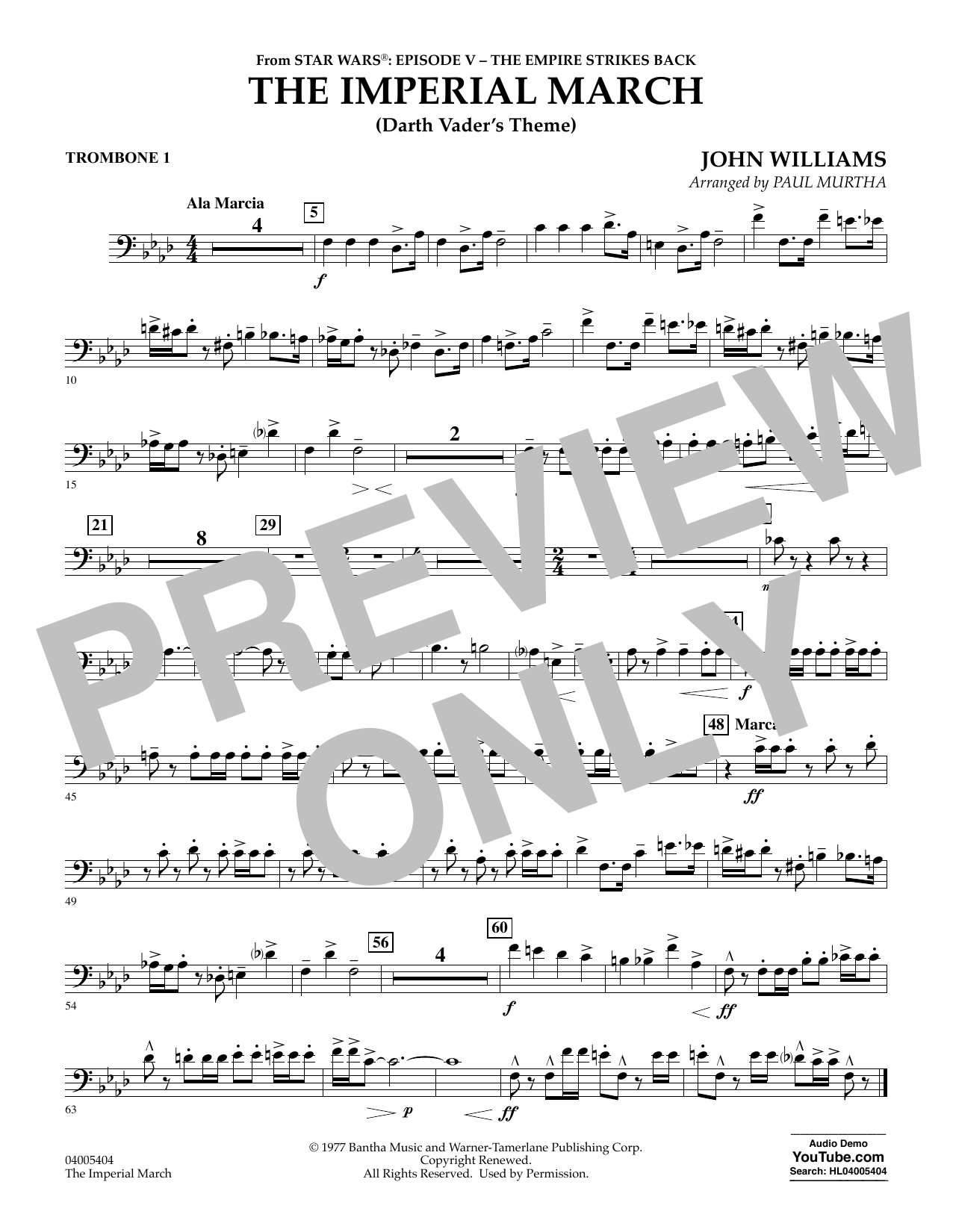 Imperial March Trombone Sheet Music : imperial, march, trombone, sheet, music, Imperial, March, (Darth, Vader's, Theme), Trombone, Sheet, Music, Murtha, Concert