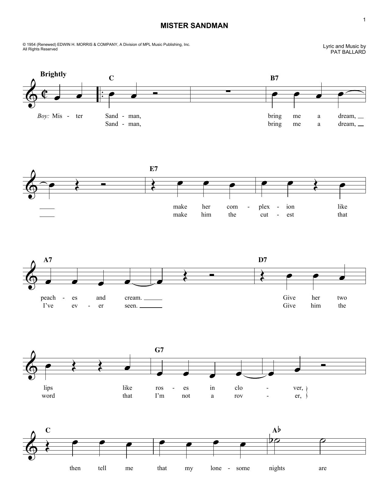 Mr Sandman Notes : sandman, notes, Mister, Sandman, Sheet, Music, Chordettes