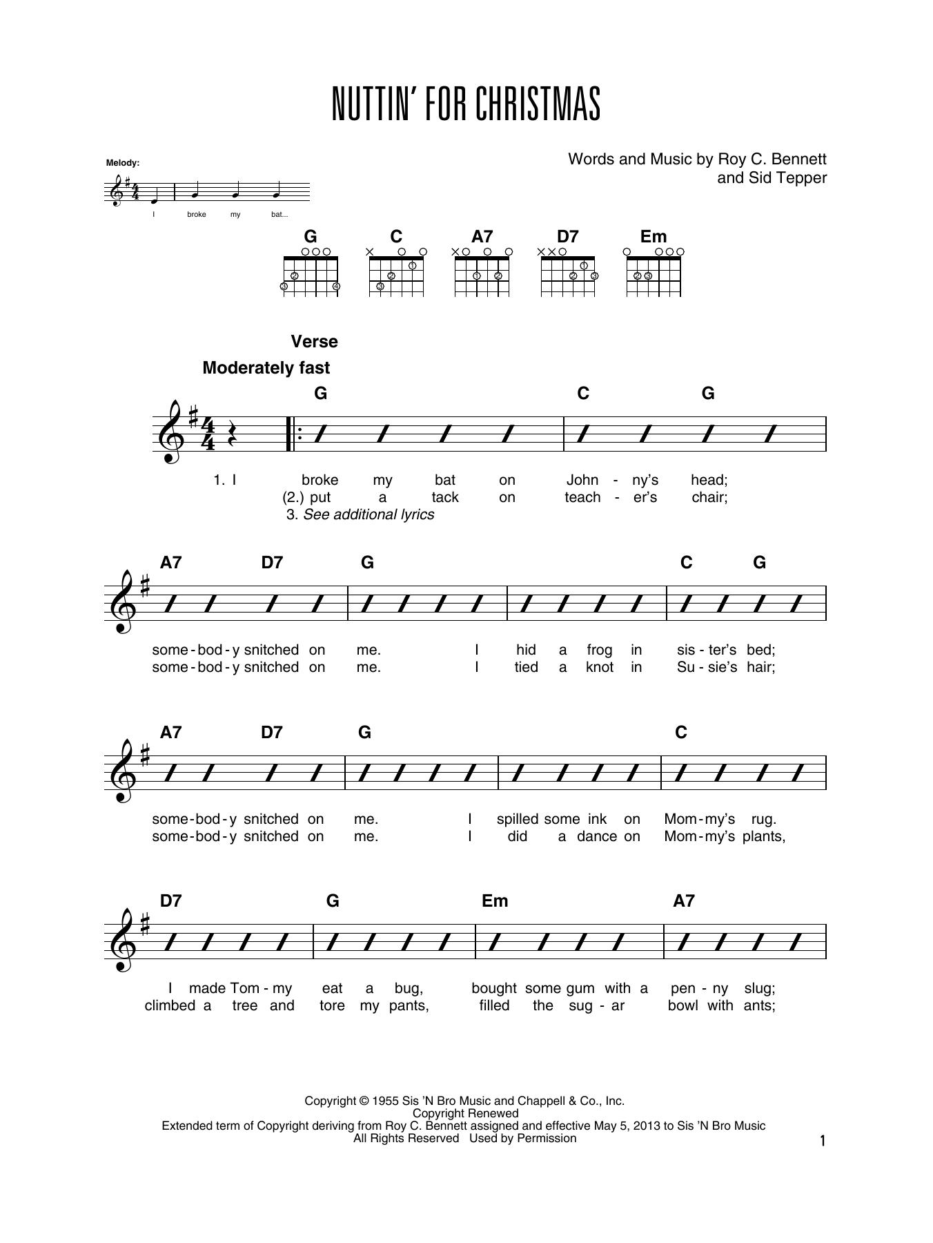 Nuttin For Christmas Piano Sheet Music Christmas