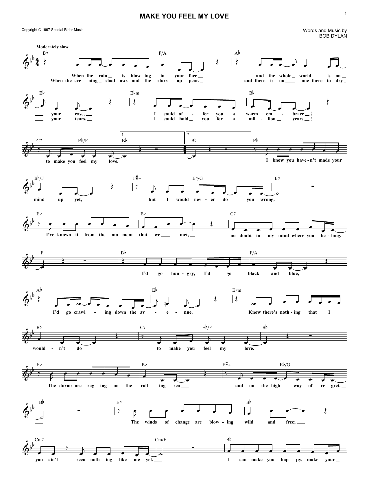 Make You Feel My Love Sheet Music | Bob Dylan | Lead Sheet / Fake Book