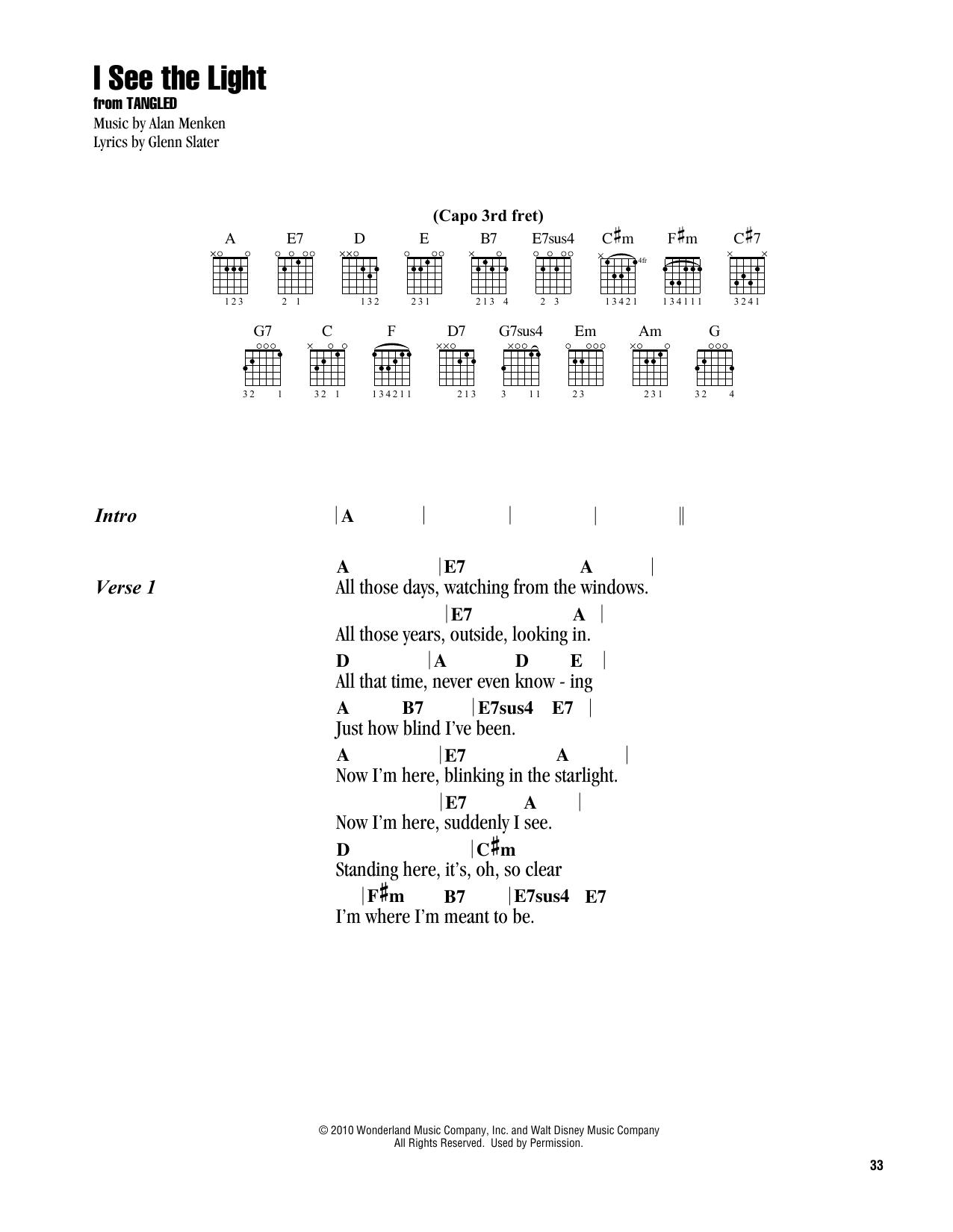I See The Light Ukulele Chords : light, ukulele, chords, Light, (from, Disney's, Tangled), (Guitar, Chords/Lyrics)