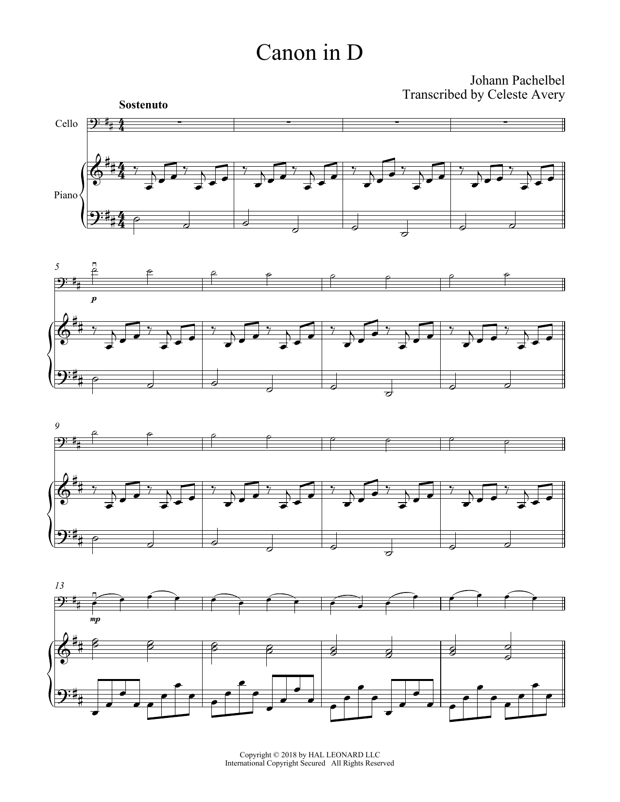 Canon In D (Cello and Piano) - Print Sheet Music Now