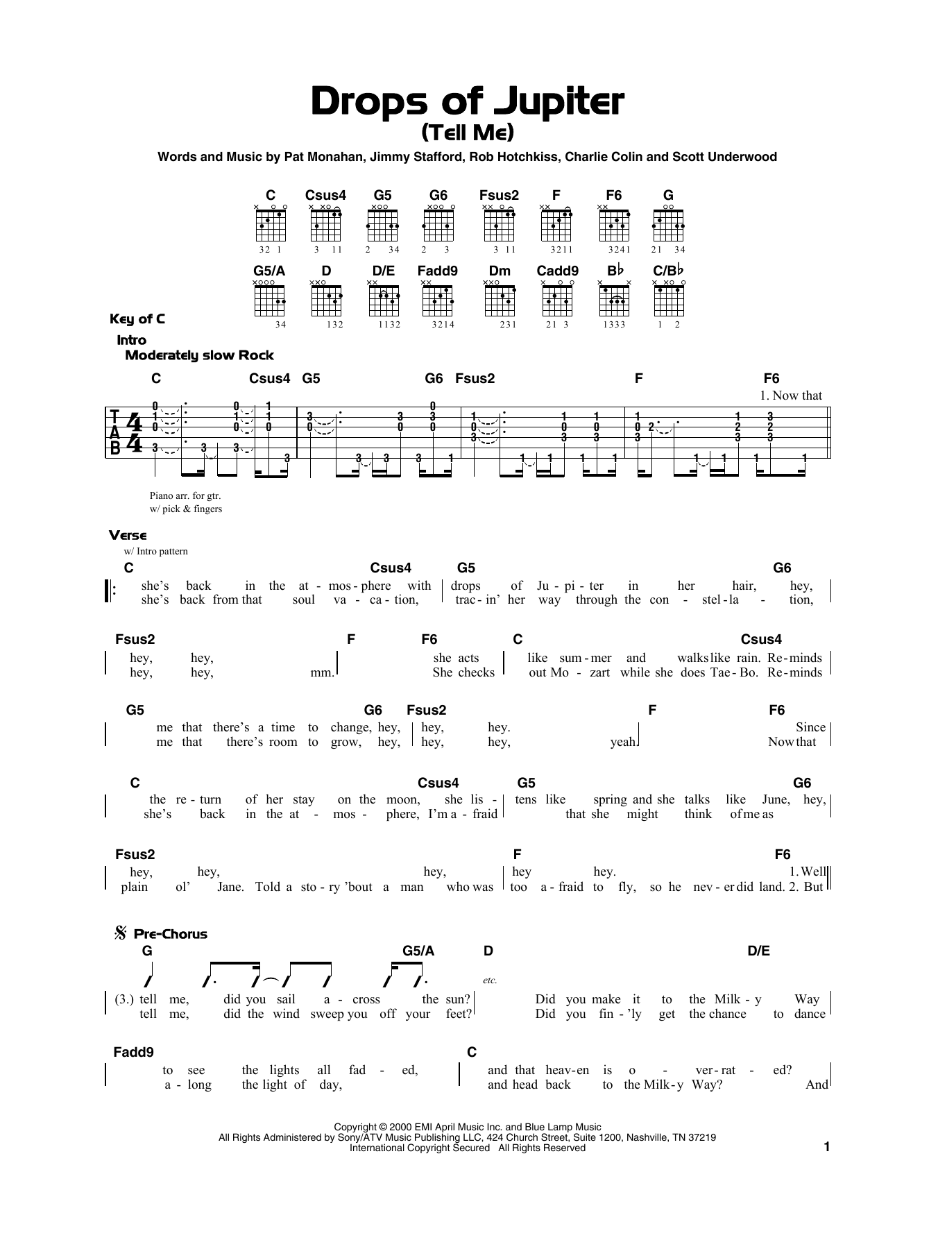 Drops Of Jupiter Uke Chords : drops, jupiter, chords, Drops, Jupiter, (Tell, Sheet, Music, Train, Really, Guitar