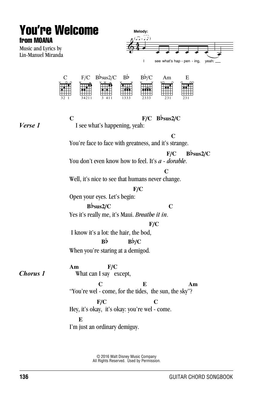 You Re Welcome Ukulele Chords : welcome, ukulele, chords, You're, Welcome, (from, Moana), Sheet, Music, Lin-Manuel, Miranda, Guitar, Chords, /Lyrics