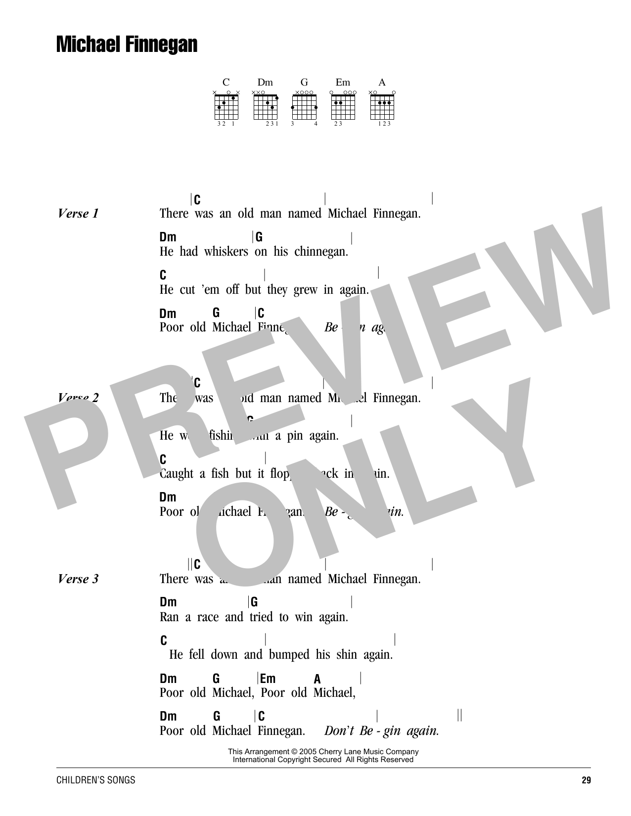 Michael Finnegan sheet music by Traditional (Lyrics