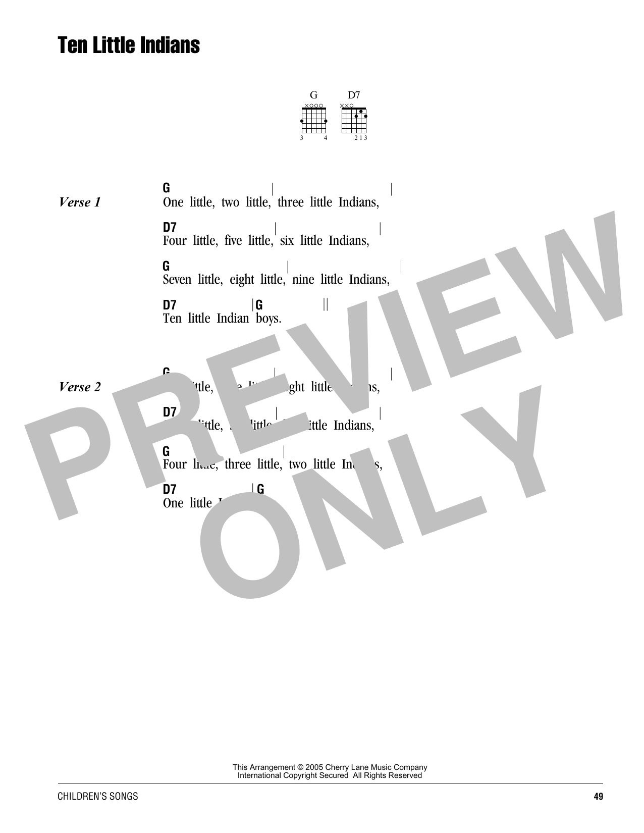 Ten Little Indians sheet music by Traditional (Lyrics